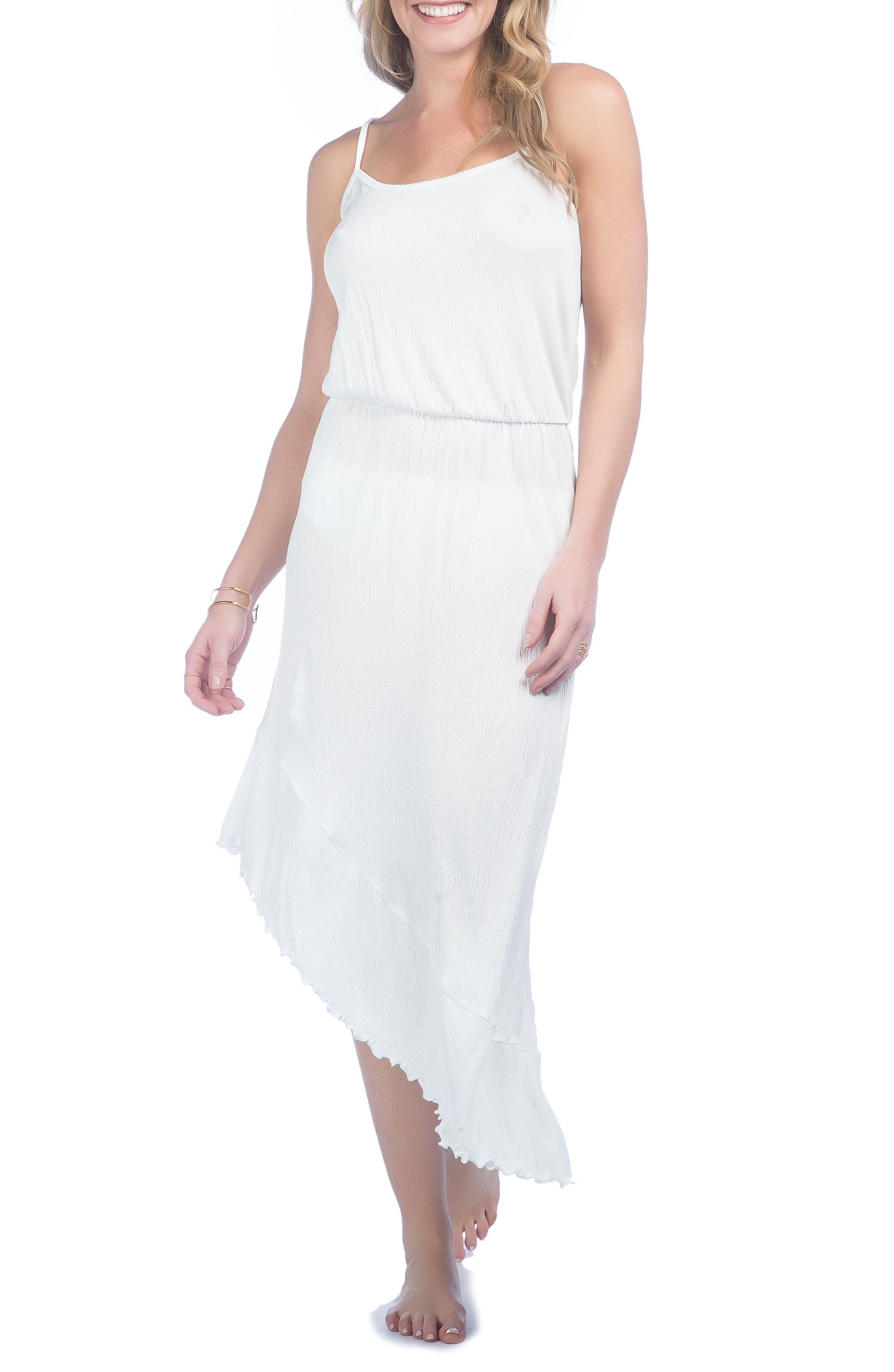 Asymmetrical Cover-Up Dress,                             Main thumbnail 1, color,                             White