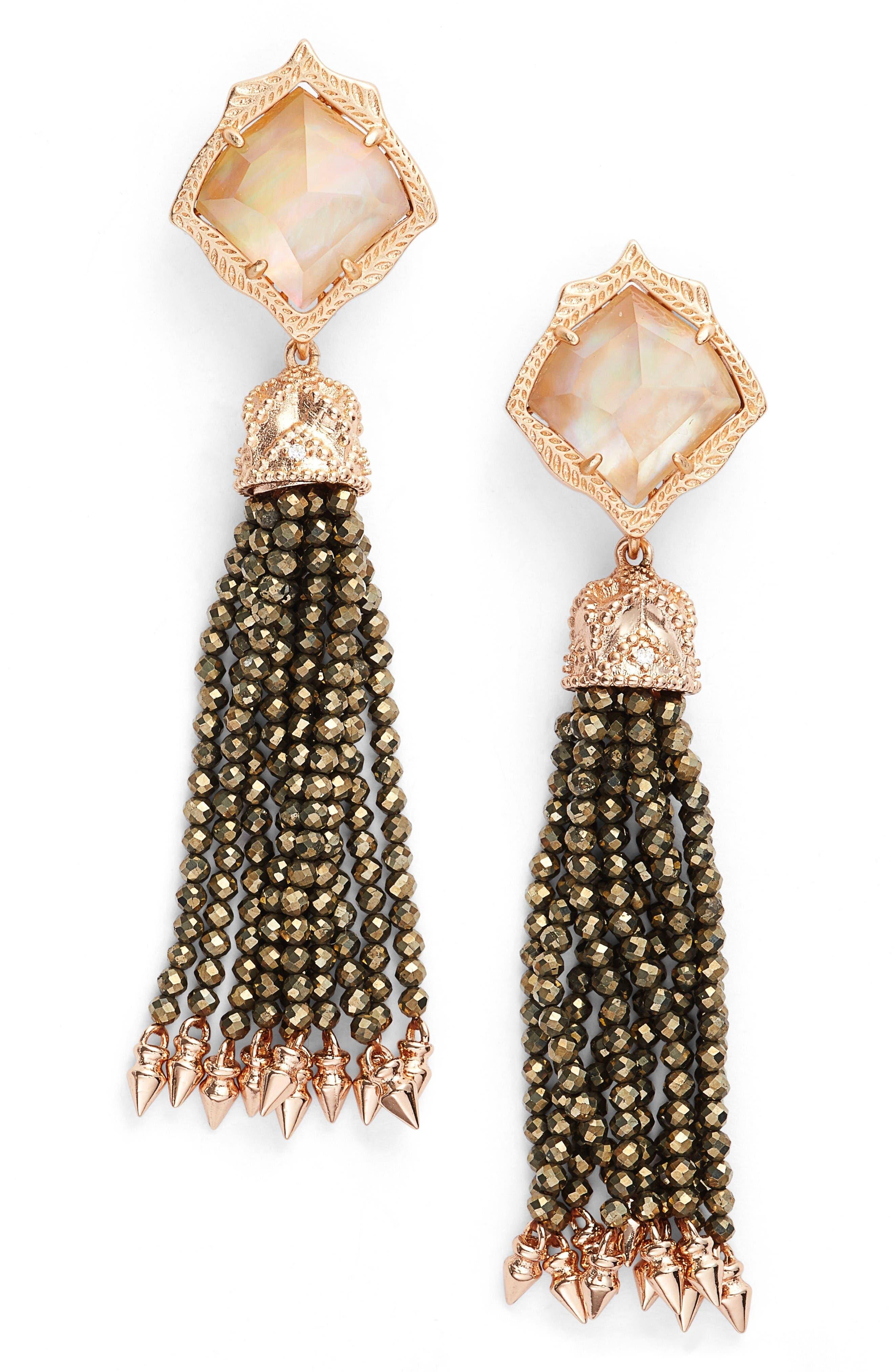 Misha Tassel Earrings,                             Main thumbnail 1, color,                             Dark Brown Mop/ Rose Gold
