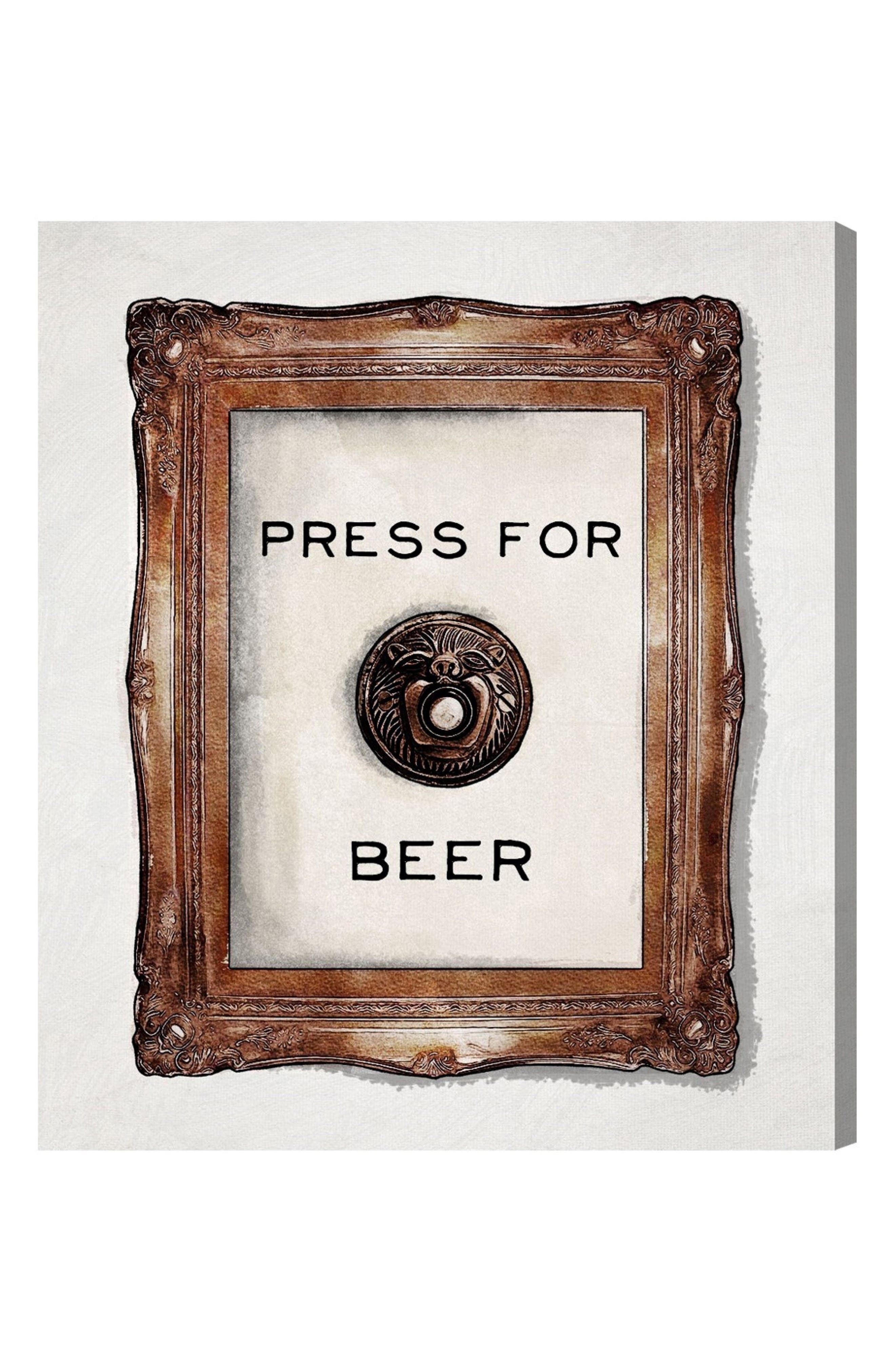 Press for Beer Canvas Wall Art,                         Main,                         color, White