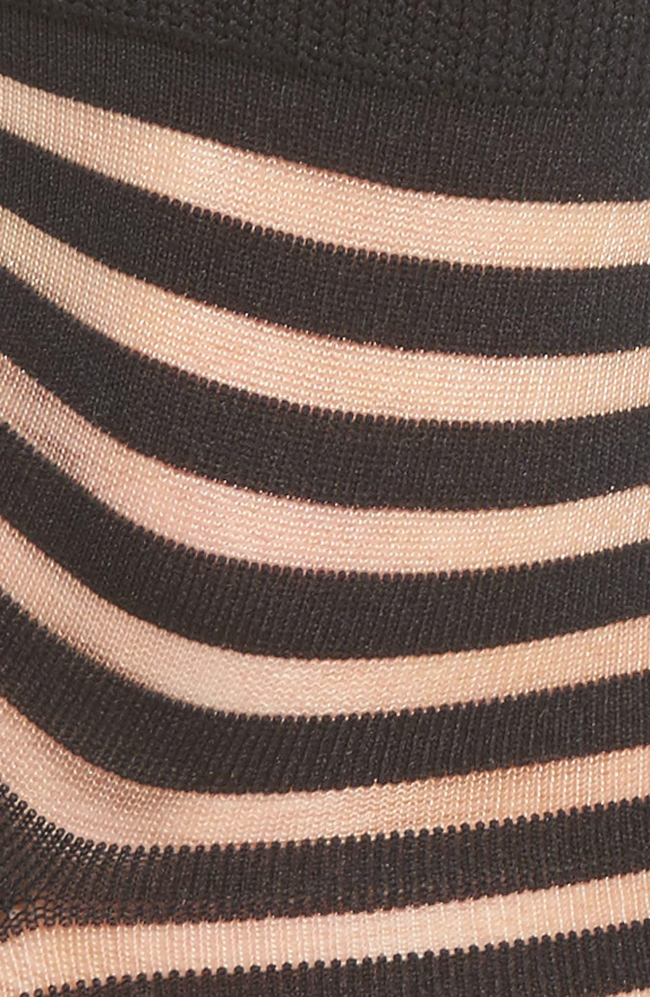 sheer stripe ankle socks,                             Alternate thumbnail 2, color,                             Black