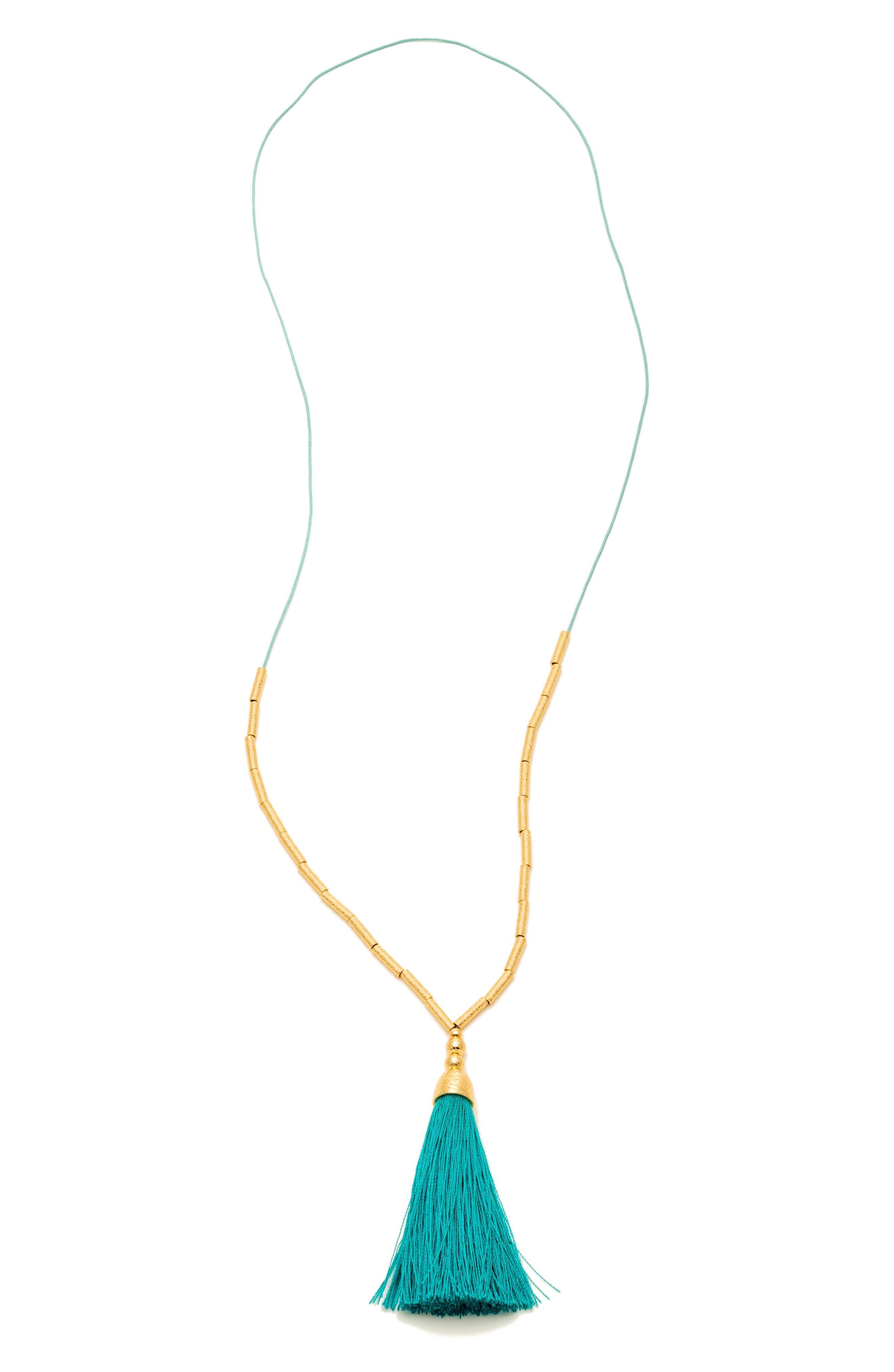 Tulum Long Tassel Pendant Necklace,                         Main,                         color, Teal / Gold