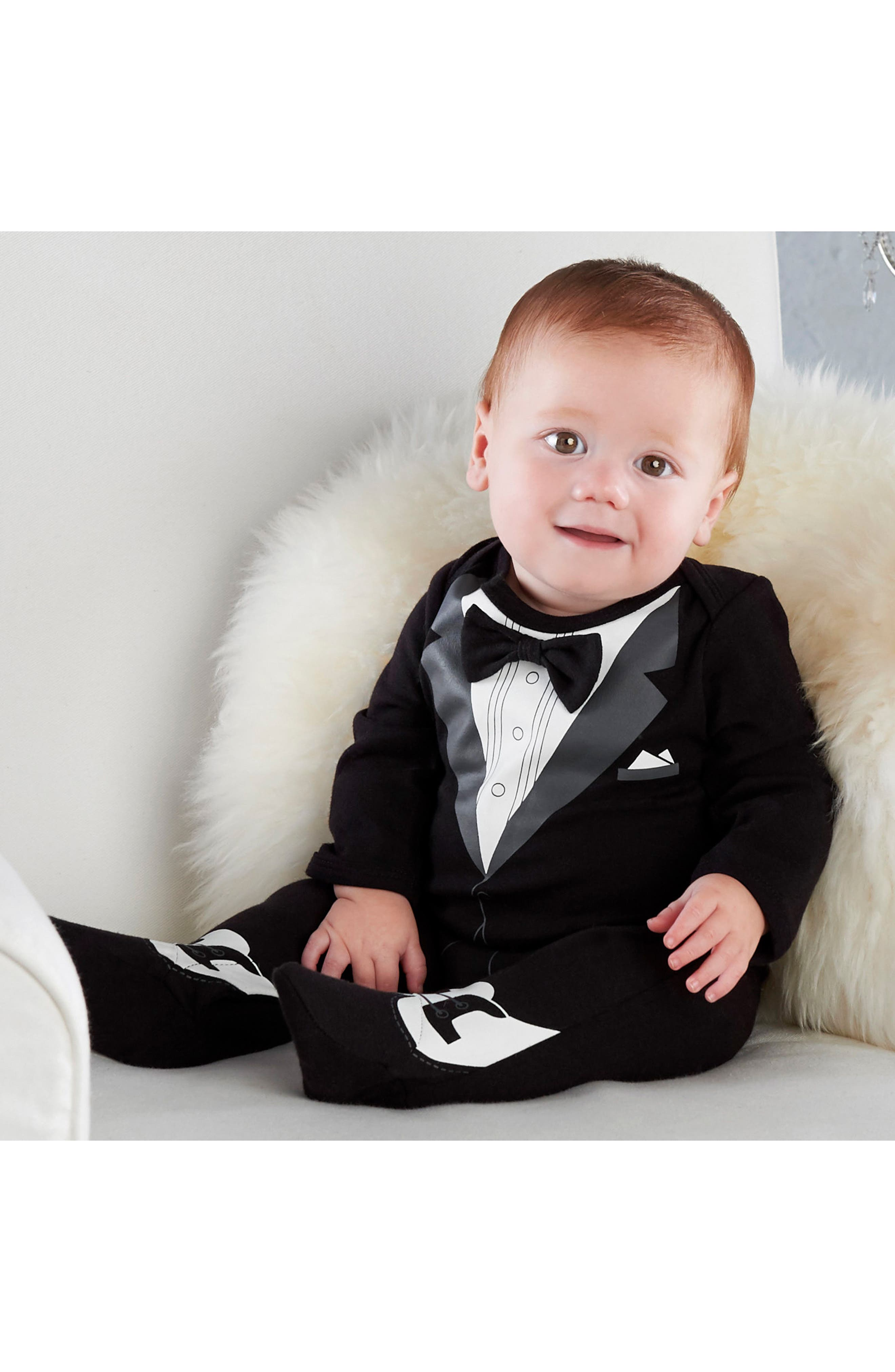 Alternate Image 2  - Baby Aspen My First Tuxedo Footie & Milestone Blocks Set