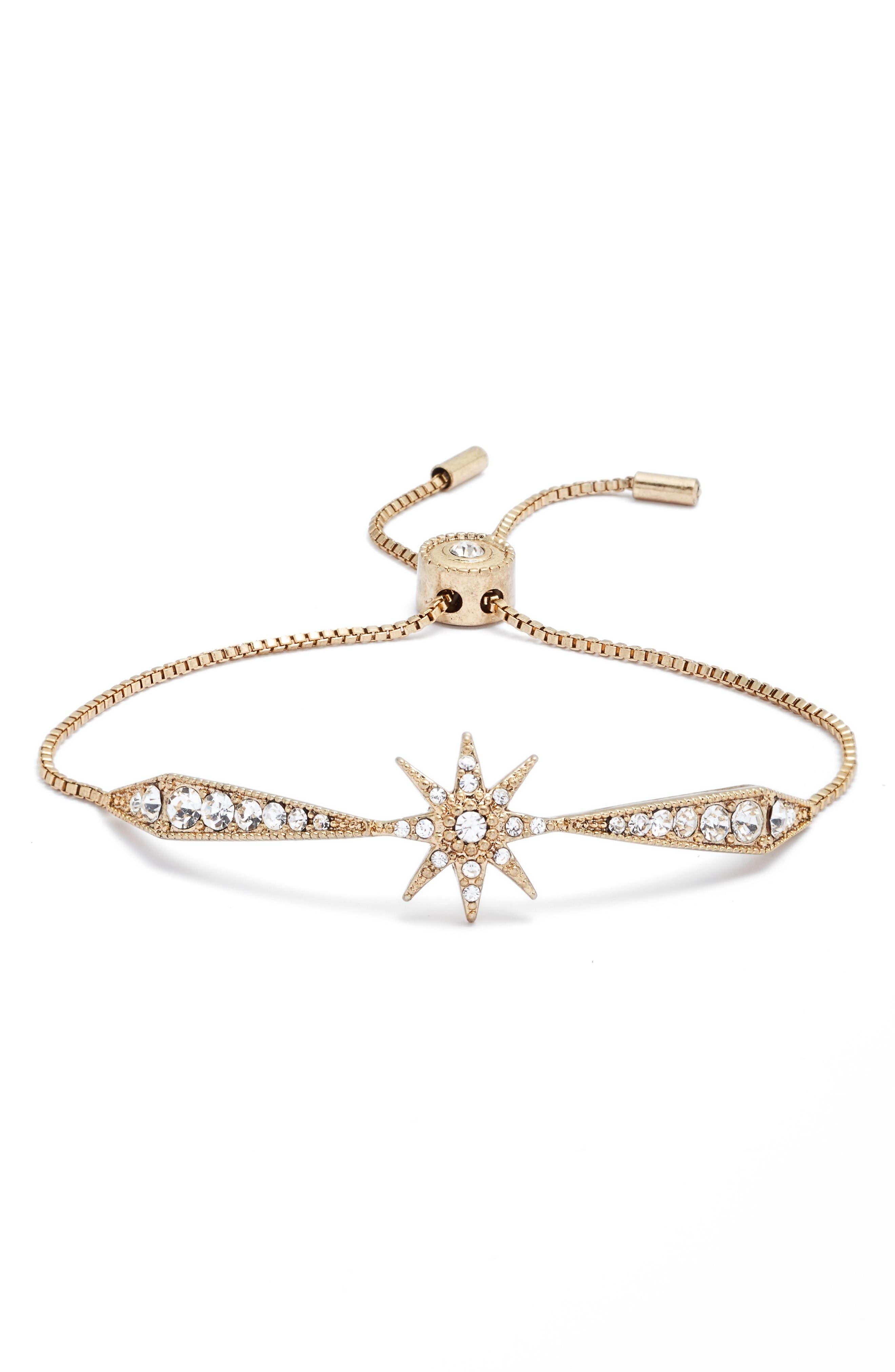 Stardust Adjustable Crystal Bracelet,                         Main,                         color, Gold