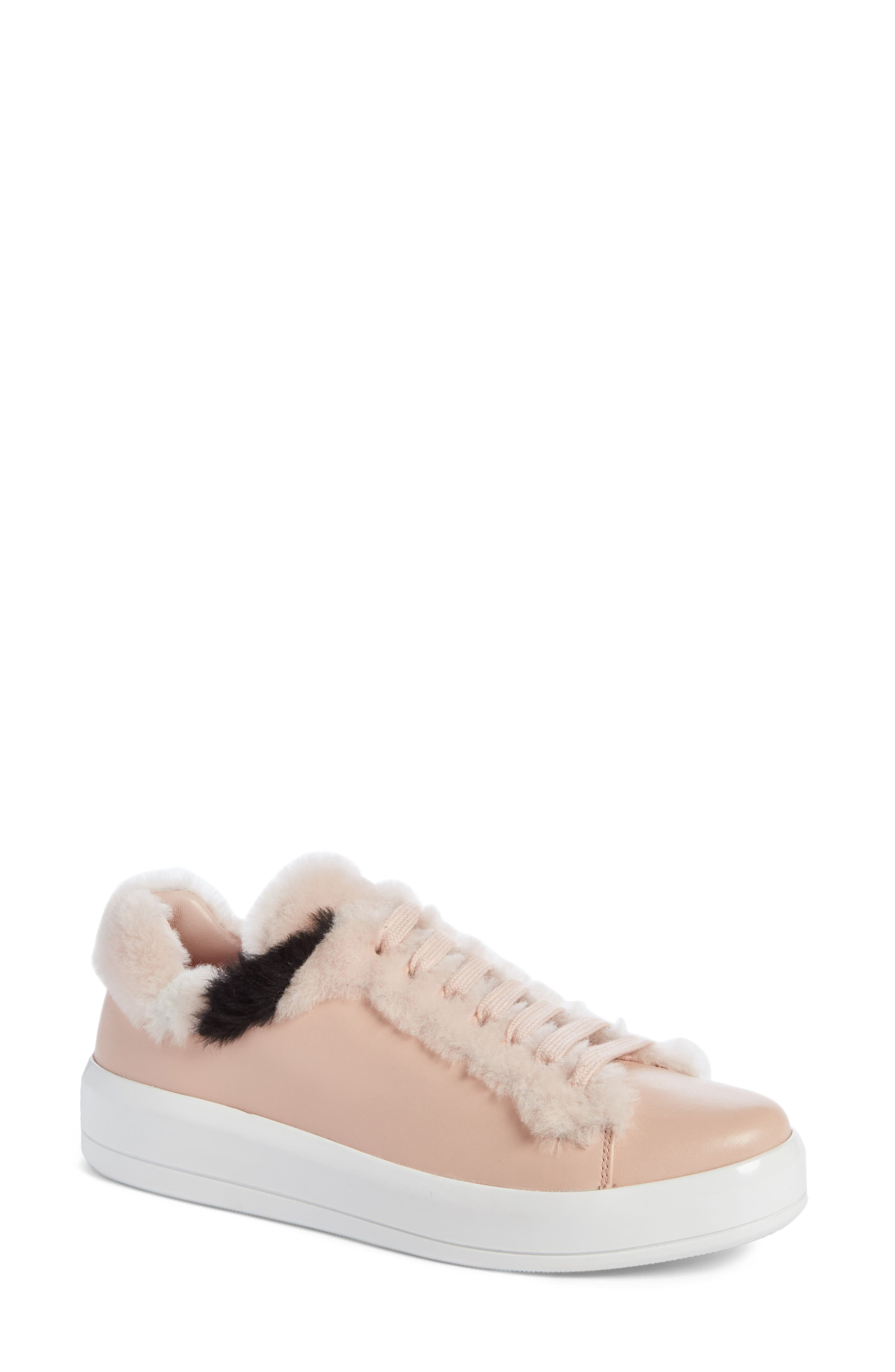 Genuine Shearling Trim Platform Sneaker,                         Main,                         color, Pink Leather