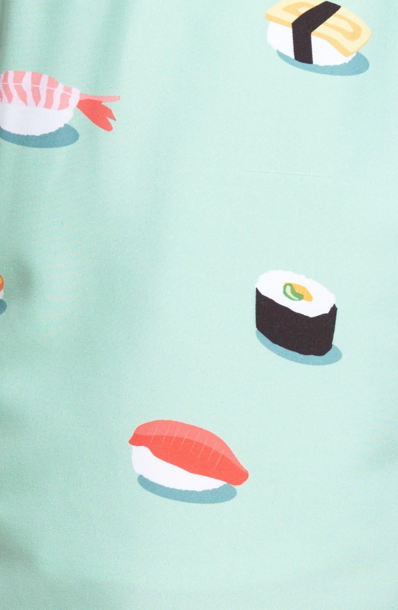 Jiro Print Swim Trunks,                             Alternate thumbnail 5, color,                             Turquoise