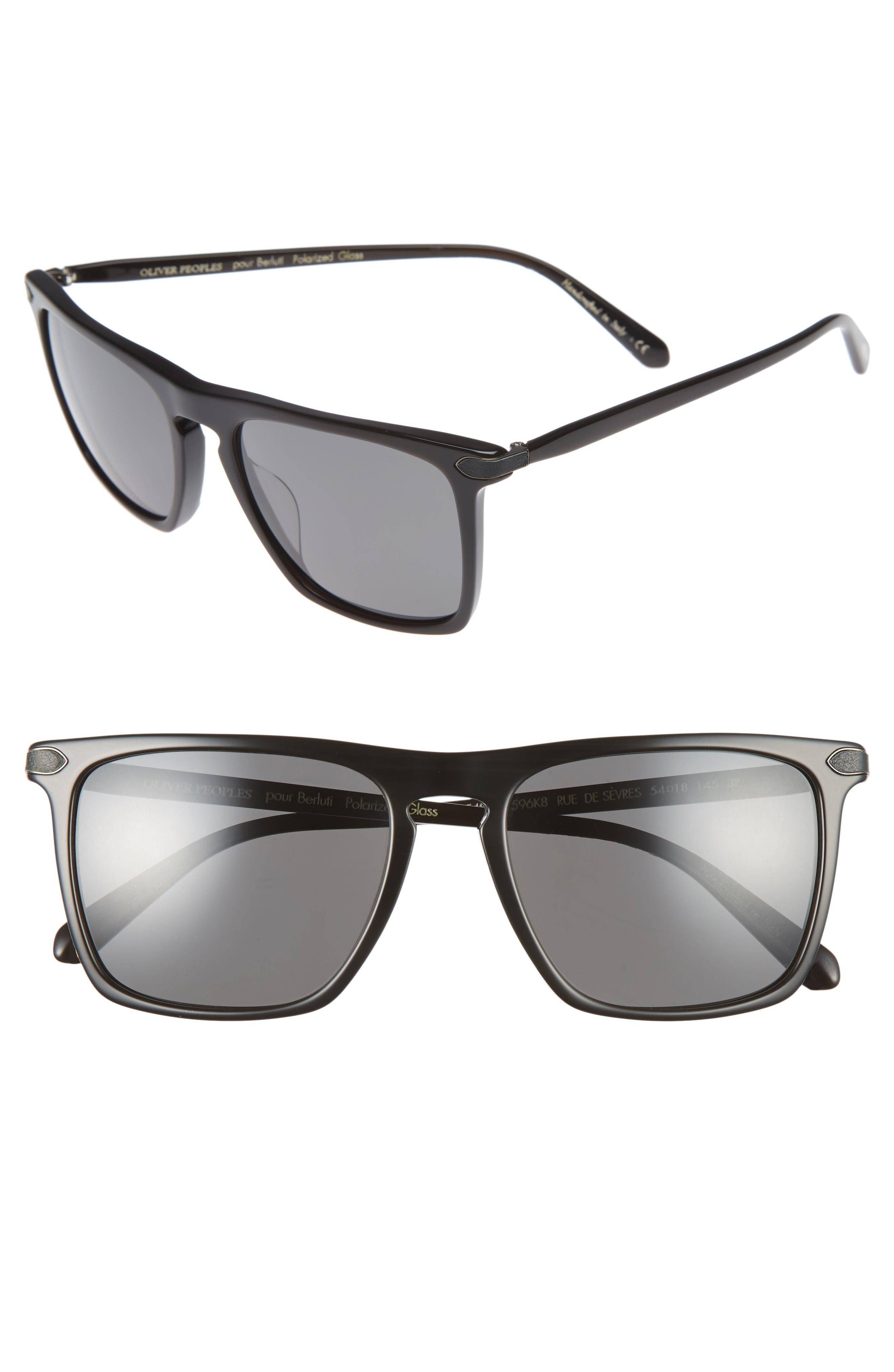 Rue De Sevres 54mm Polarized Sunglasses,                             Main thumbnail 1, color,                             Black