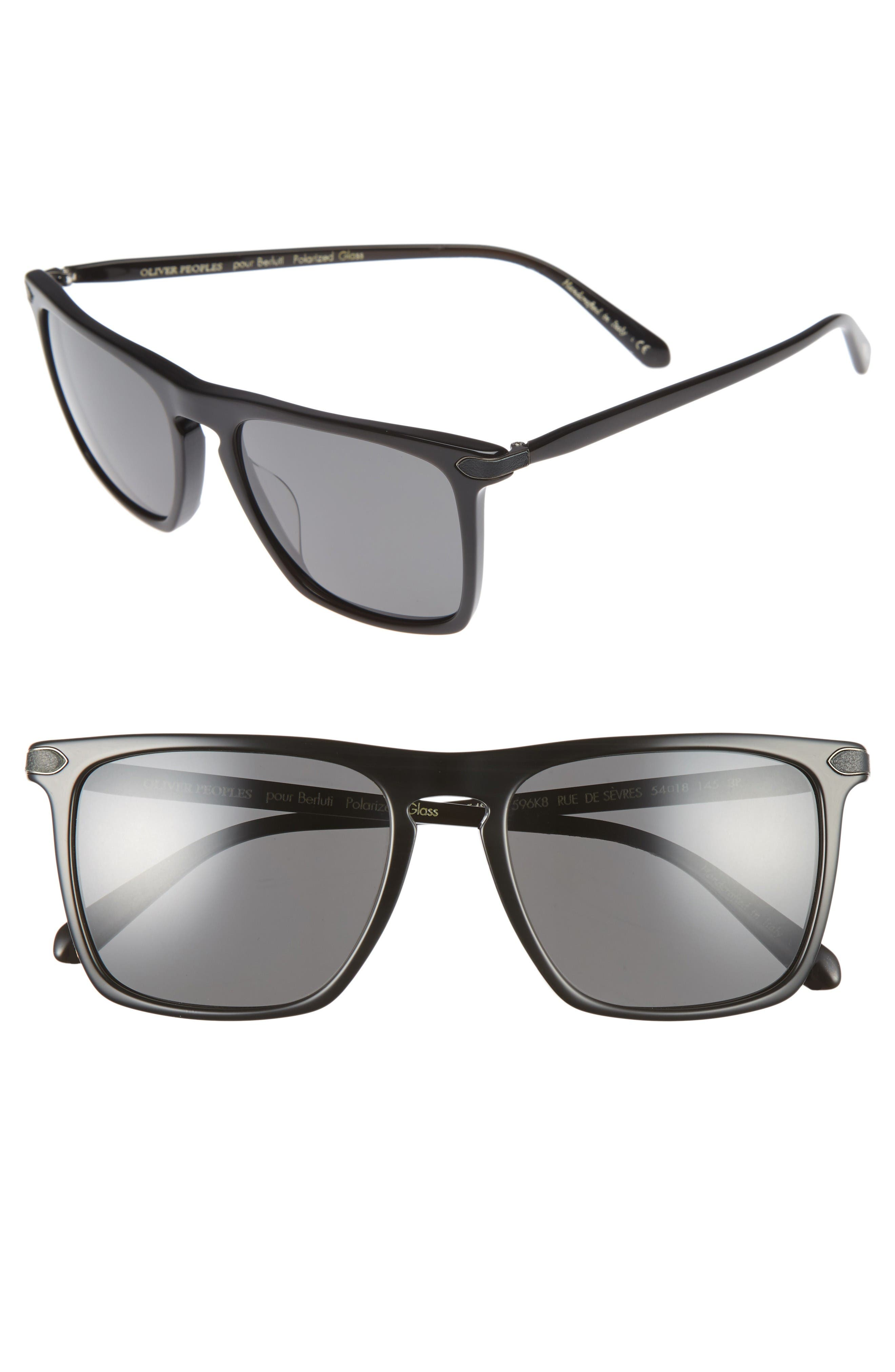 Rue De Sevres 54mm Polarized Sunglasses,                         Main,                         color, Black