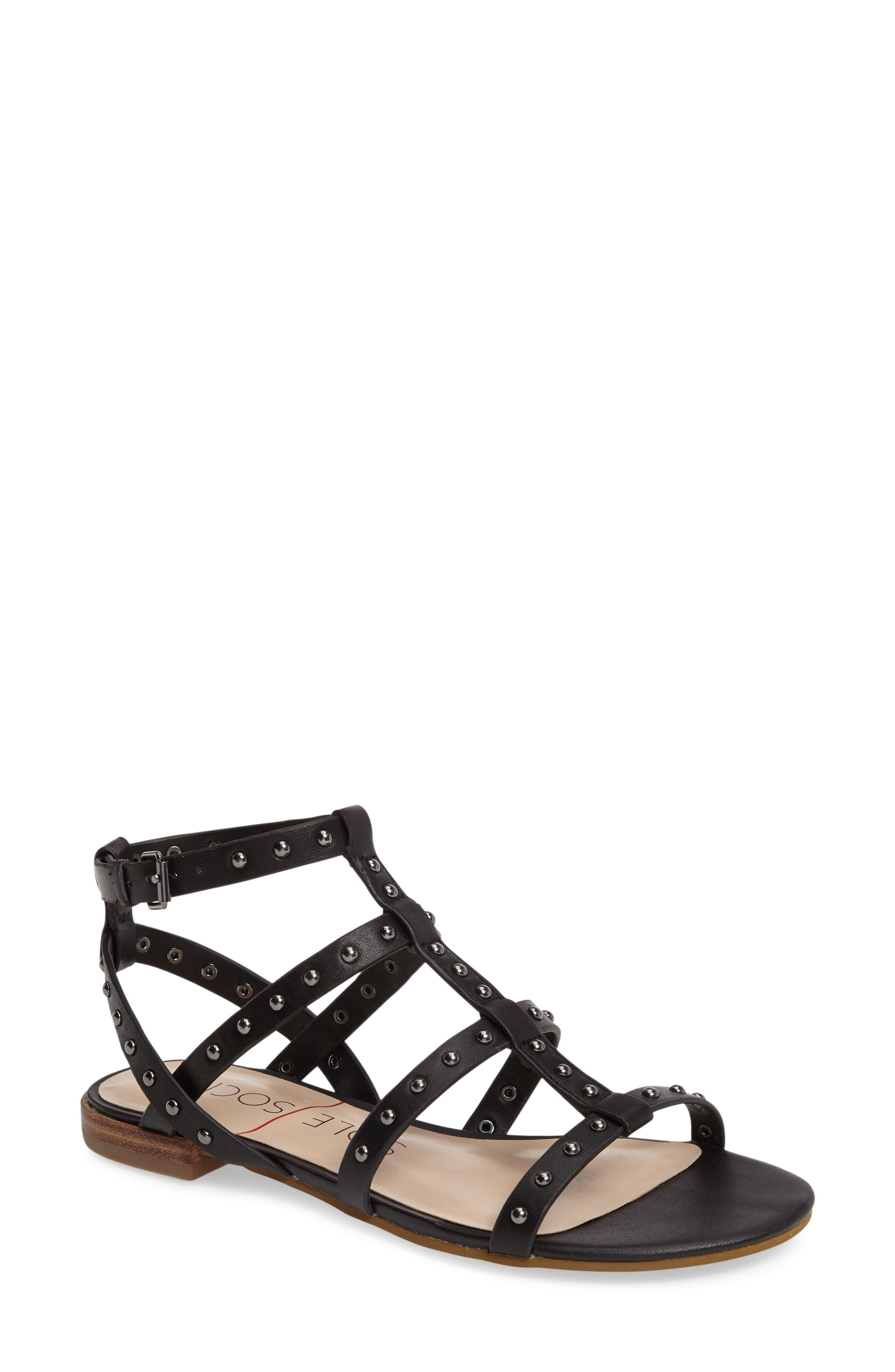 Celine Sandal,                             Main thumbnail 1, color,                             Black Leather