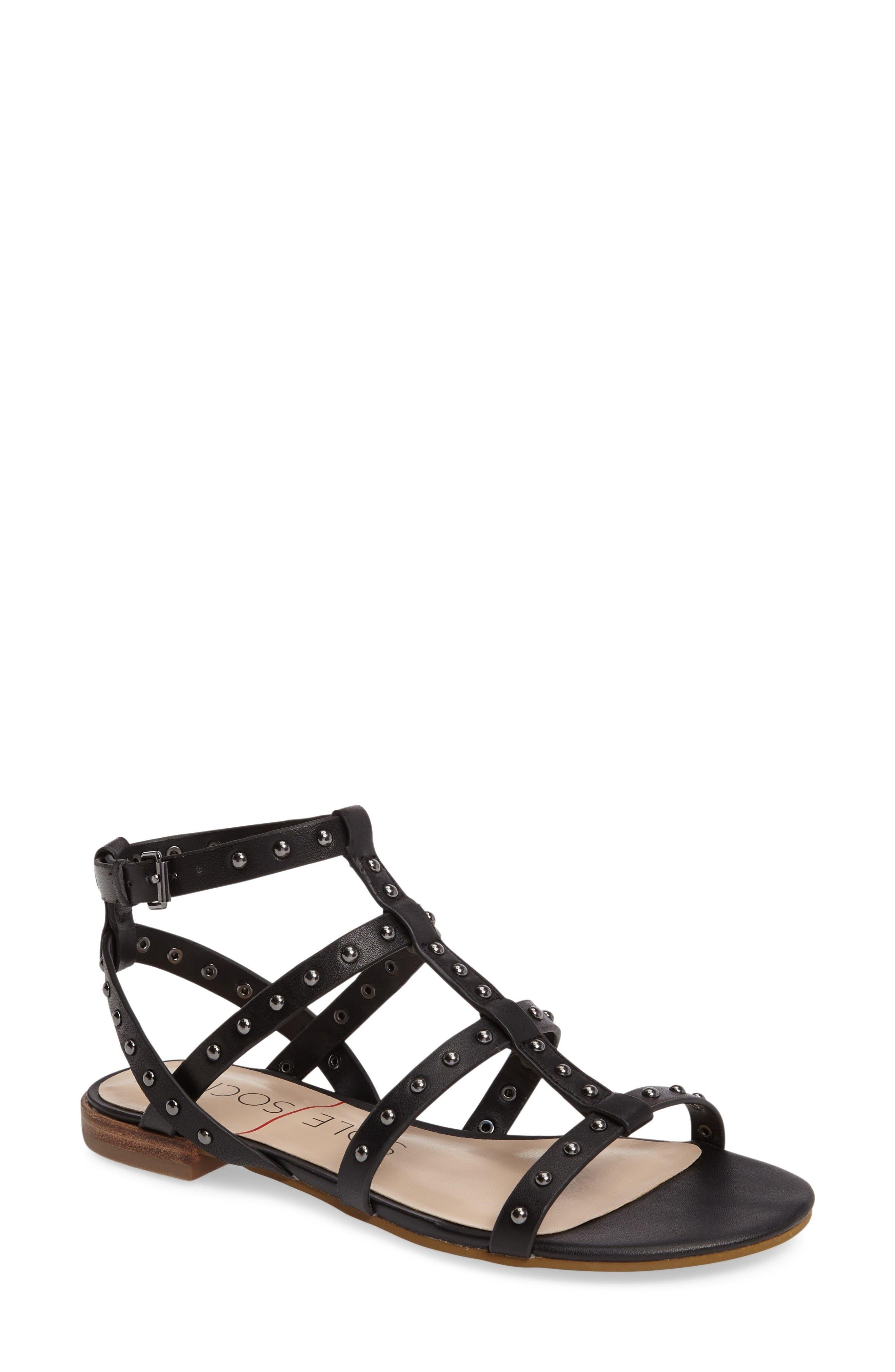 Celine Sandal,                         Main,                         color, Black Leather