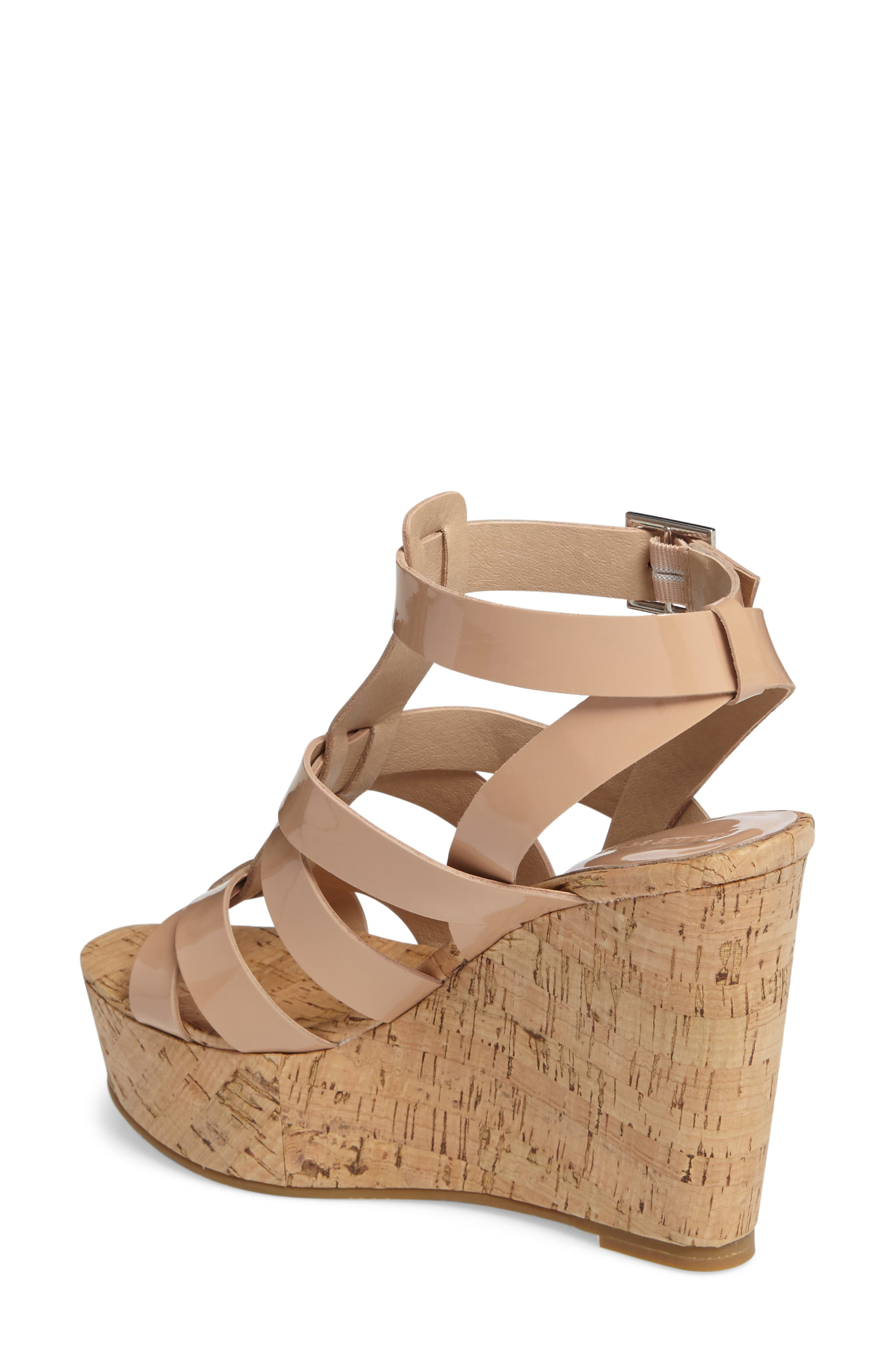Rayjay Wedge Sandal,                             Alternate thumbnail 2, color,                             Blush Leather