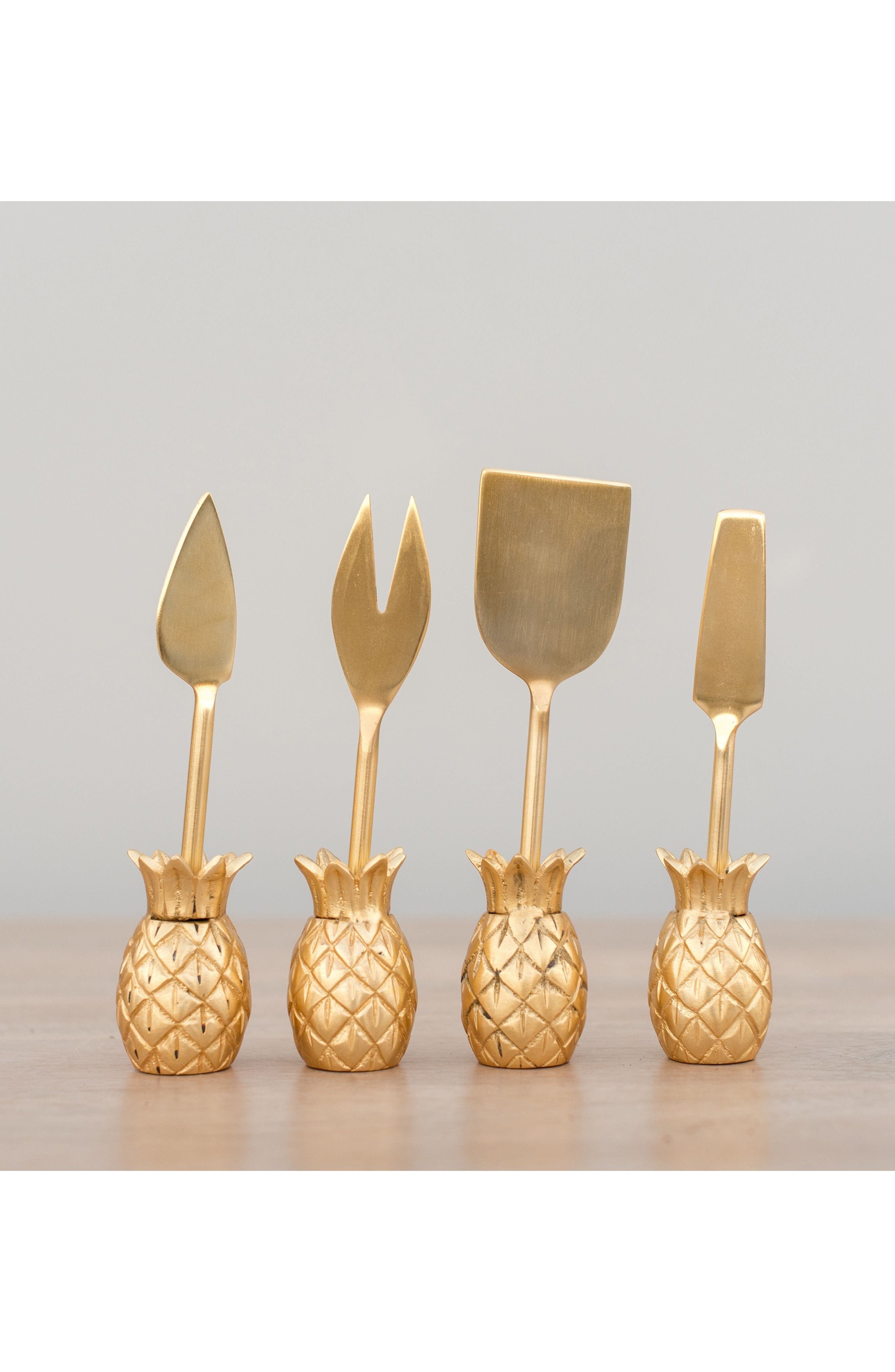 Luau Set of 4 Cheese Knives,                             Alternate thumbnail 3, color,                             Gold