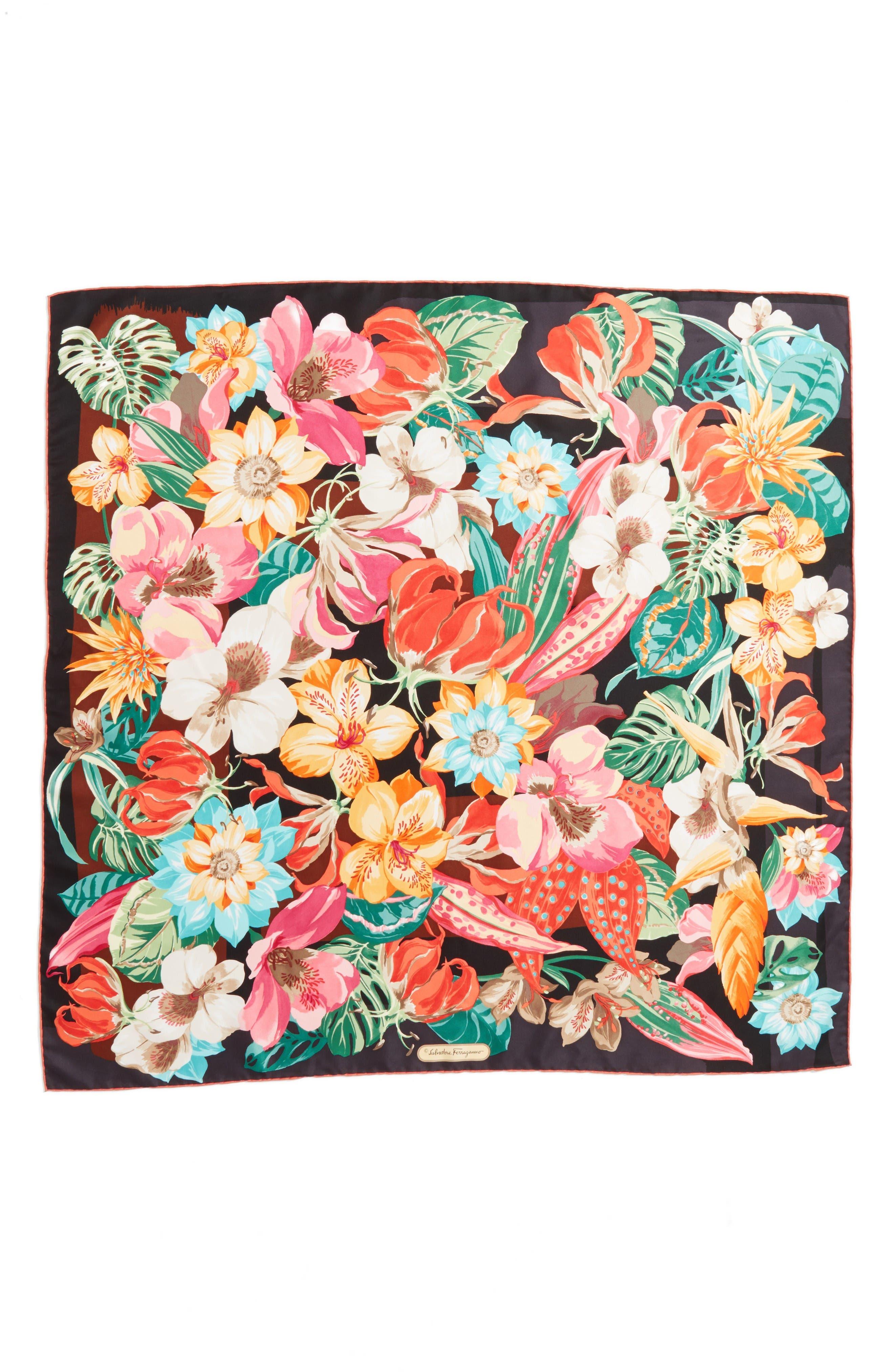 Salvatore Ferragamo Nettare Floral Silk Scarf
