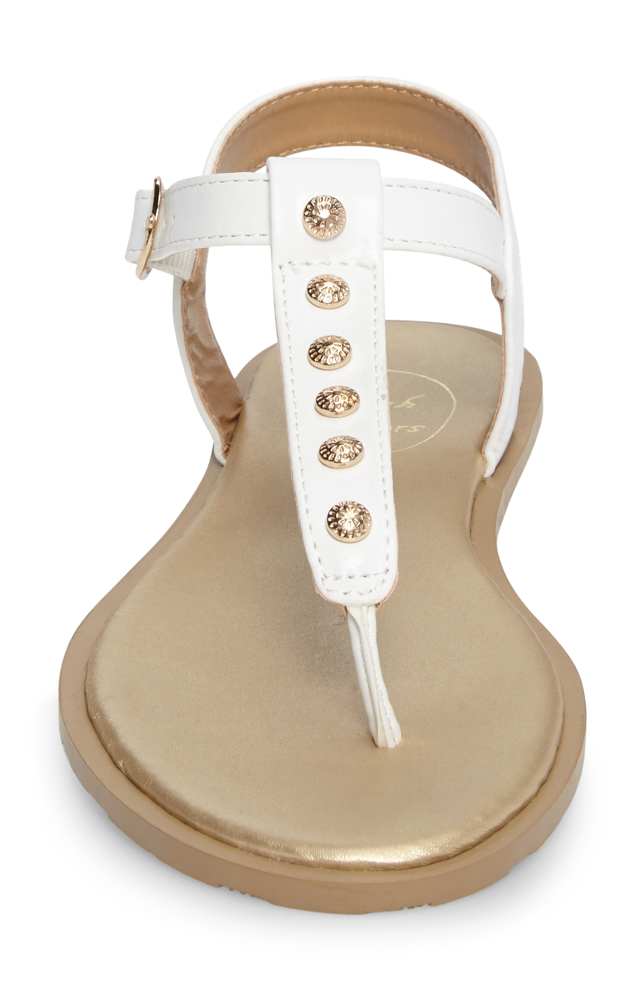 Kamri T-Strap Sandal,                             Alternate thumbnail 4, color,                             White Leather