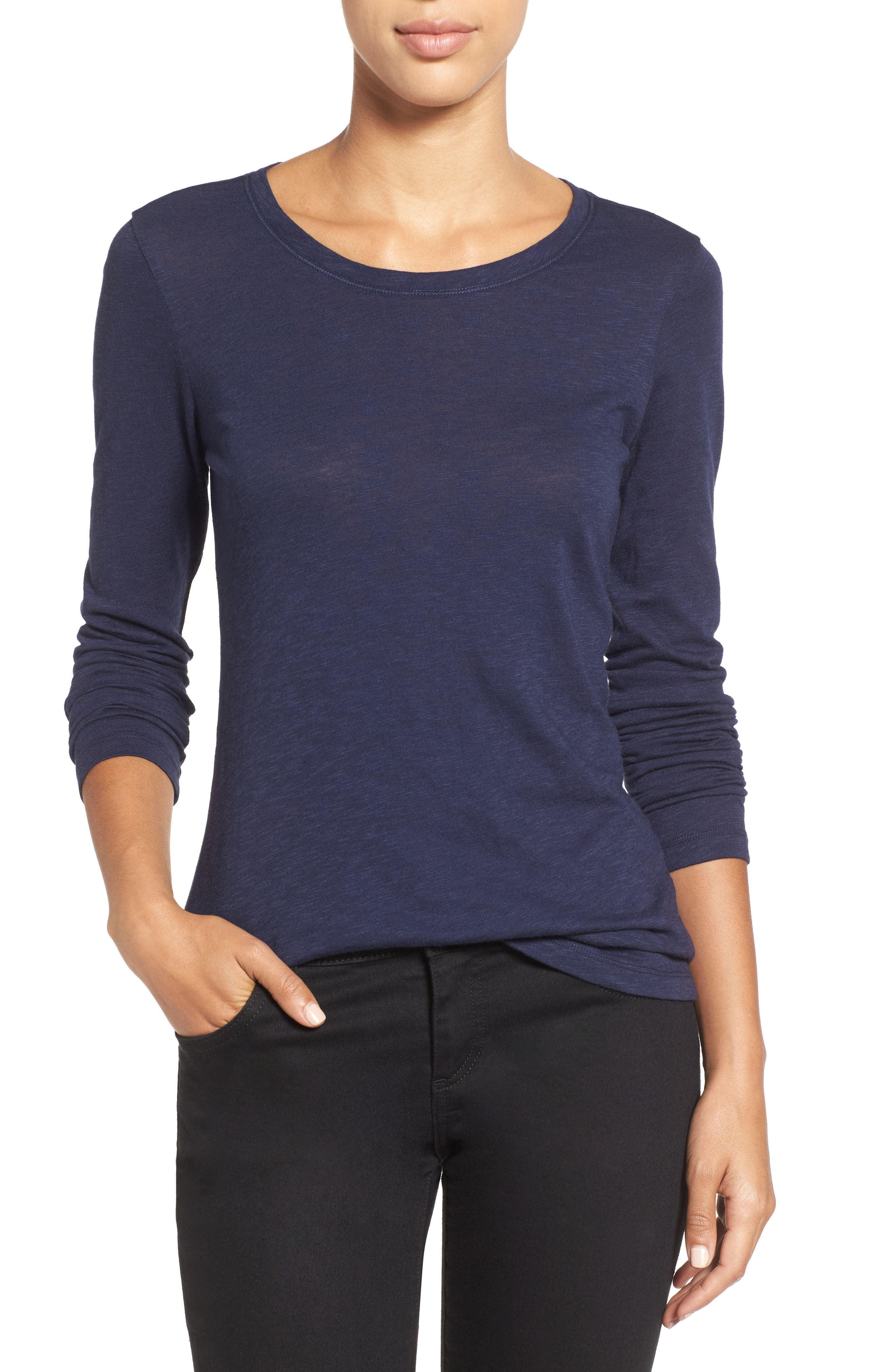 Caslon® Long Sleeve Crewneck Tee (Regular & Petite)