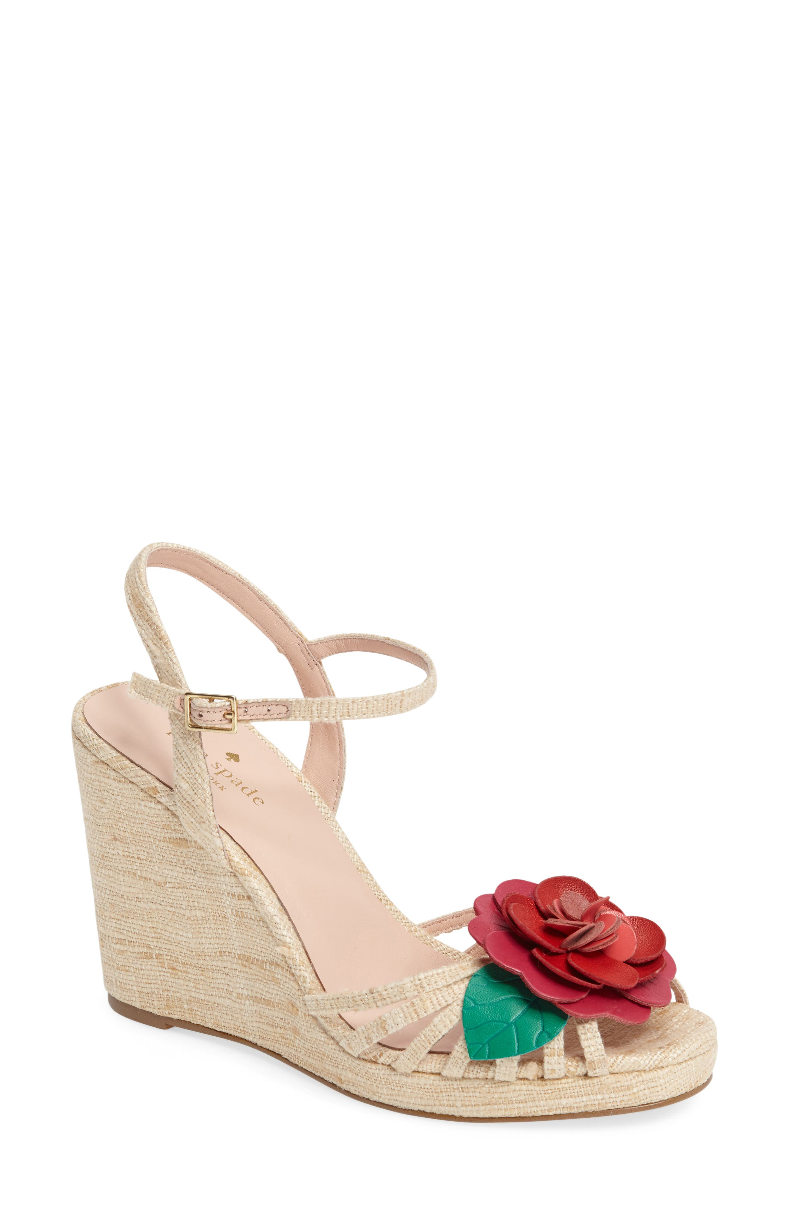 beekman strappy wedge sandal,                         Main,                         color, Natural Raw Silk