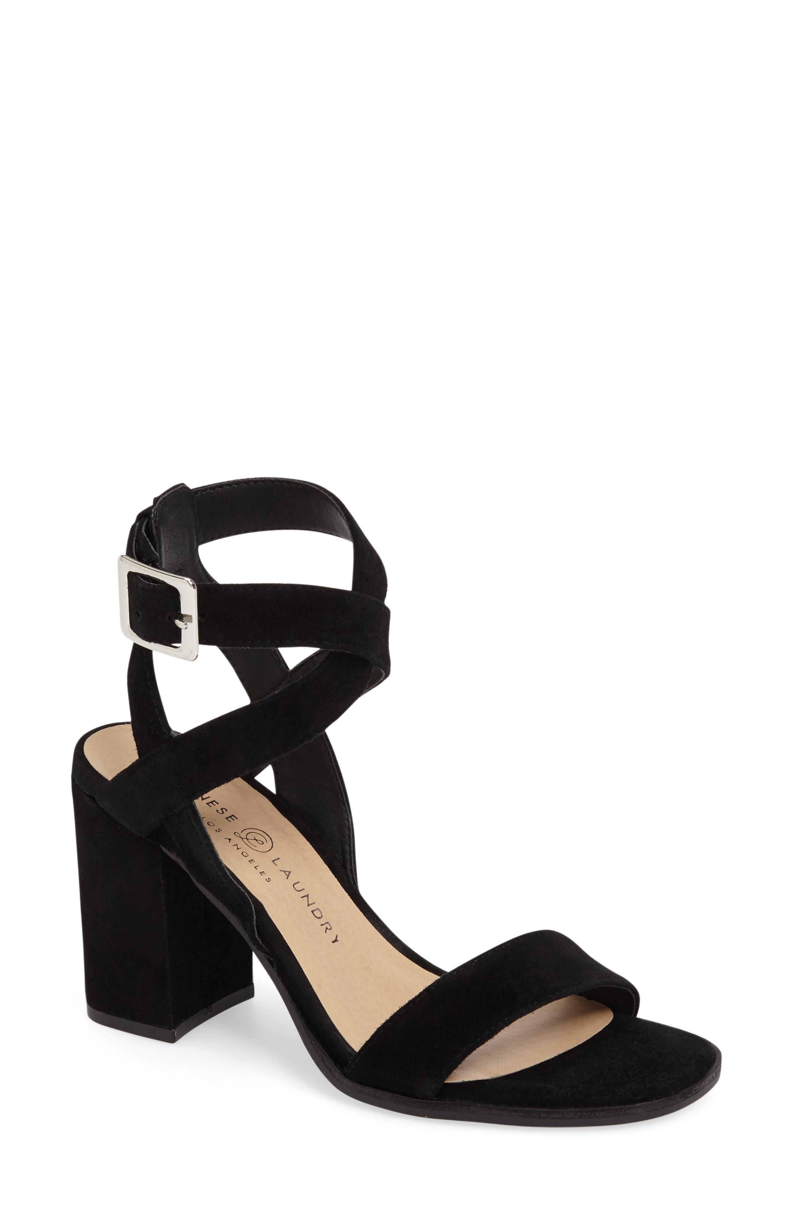 Sitara Ankle Strap Sandal,                         Main,                         color, Black Suede