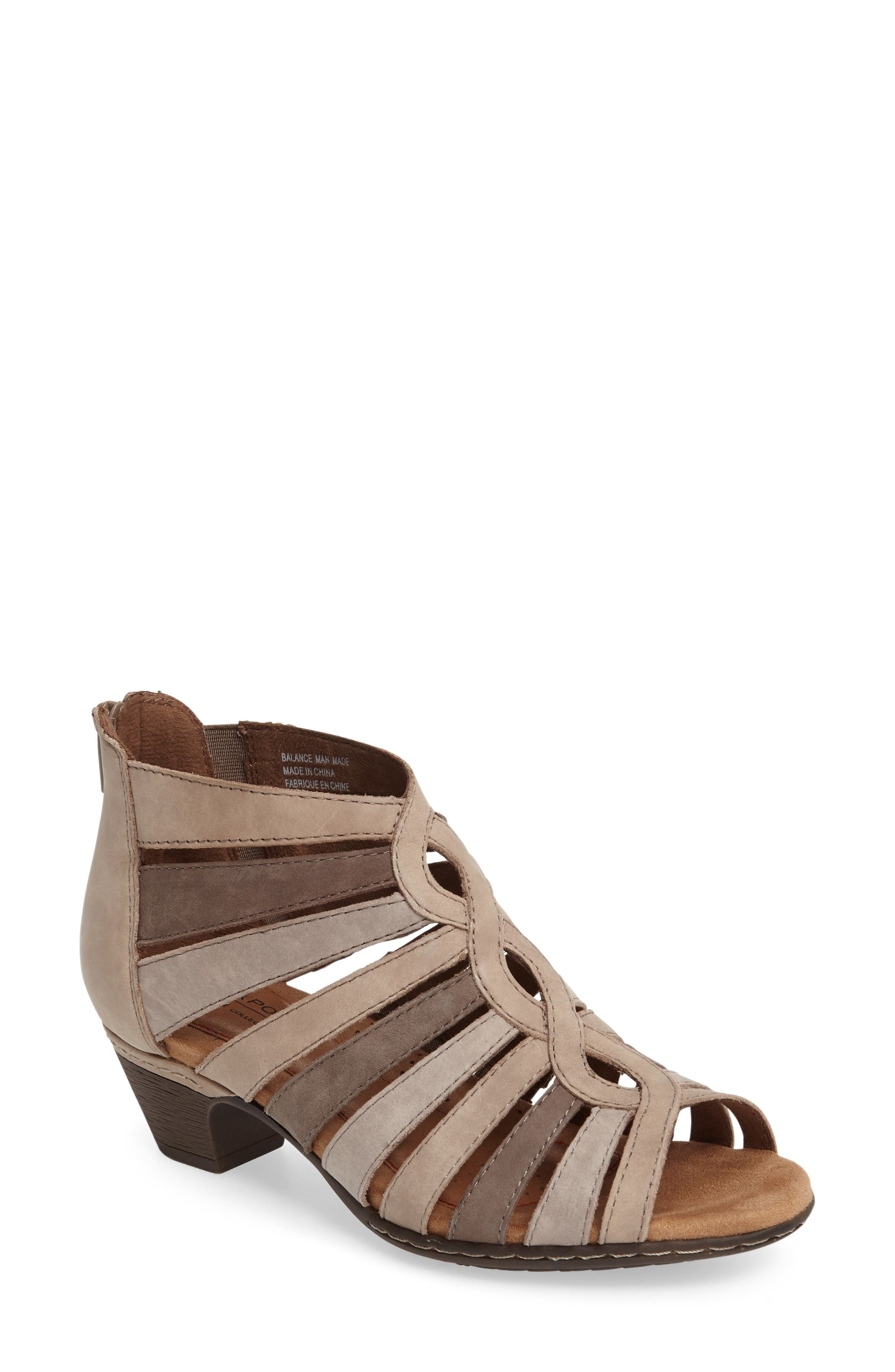 Abbott Caged Sandal,                             Main thumbnail 1, color,                             Light Khaki Multi Leather