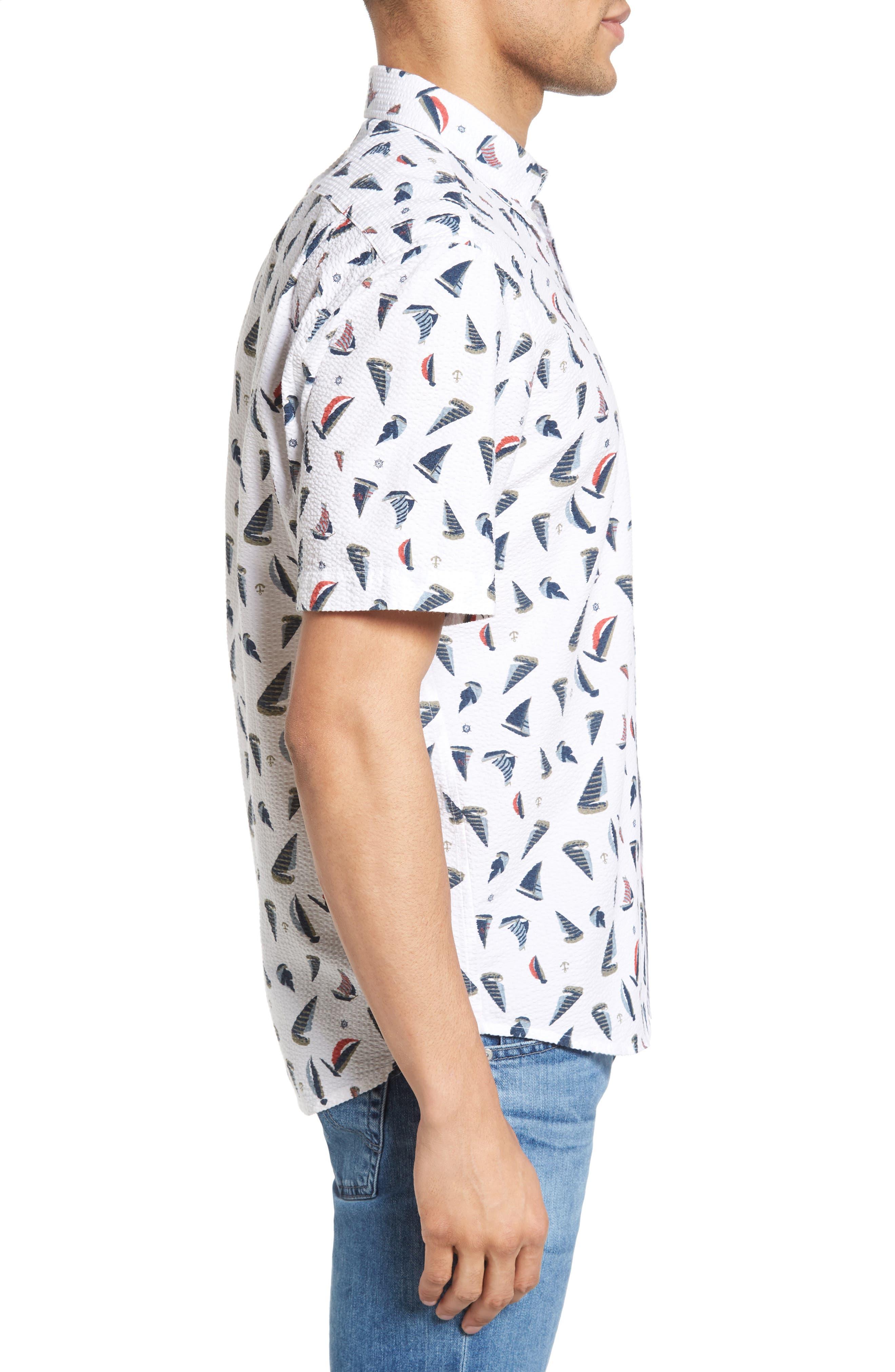 Alternate Image 3  - Tailor Vintage Sailboat Seersucker Sport Shirt