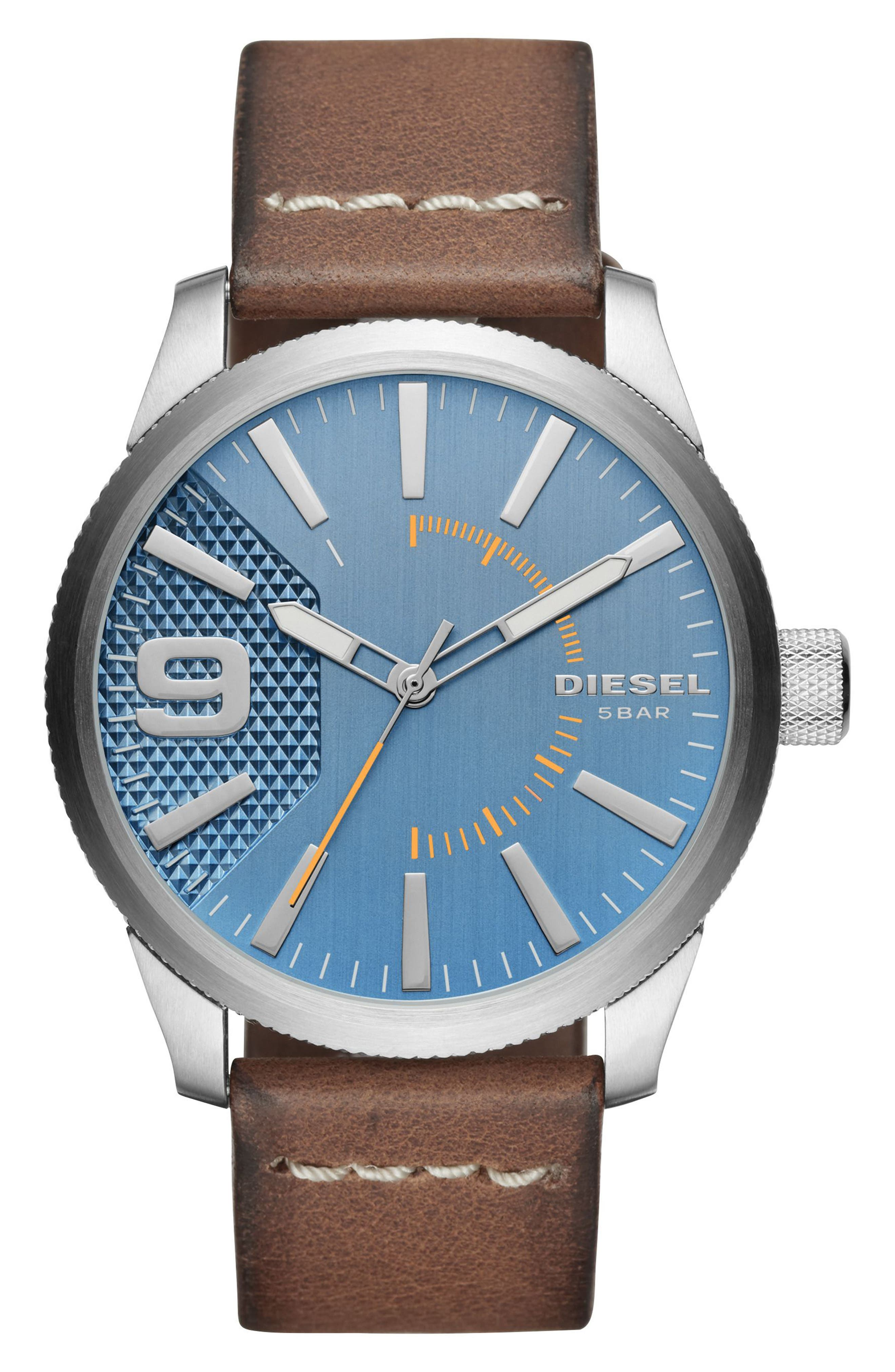 Rasp Leather Strap Watch, 46mm,                             Main thumbnail 1, color,                             Blue/ Brown