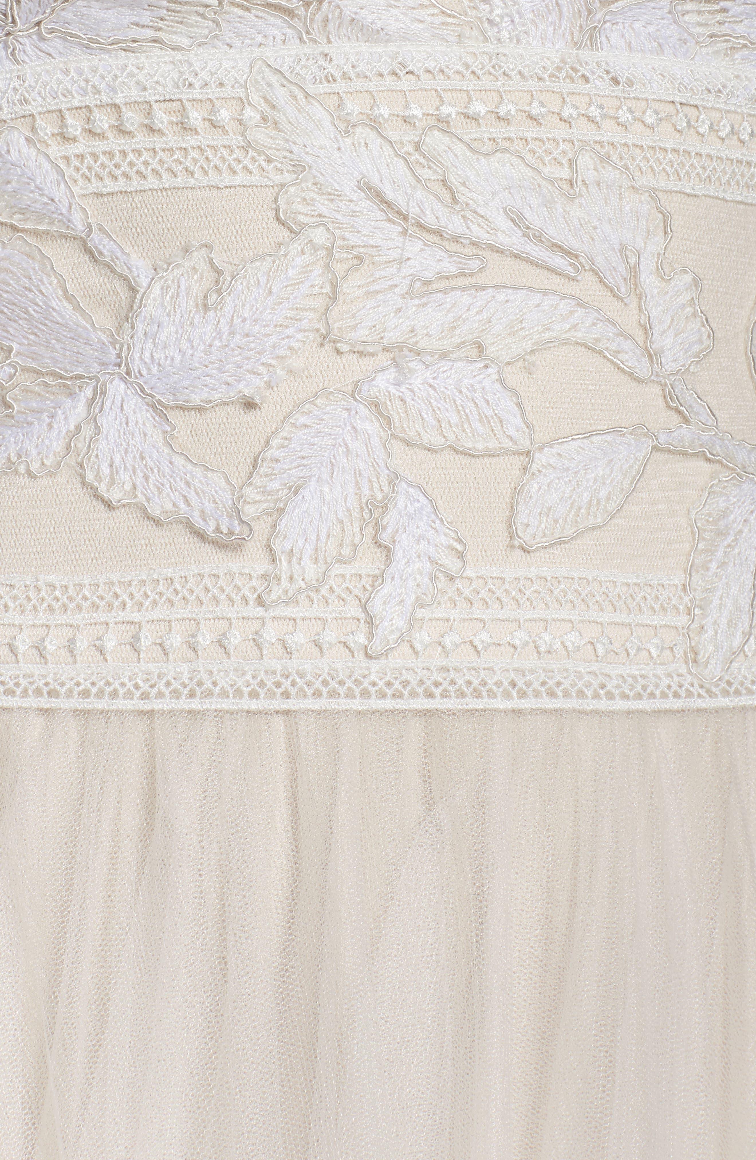 Tulle Lace A-Line Gown,                             Alternate thumbnail 5, color,                             Ivory/ Petal
