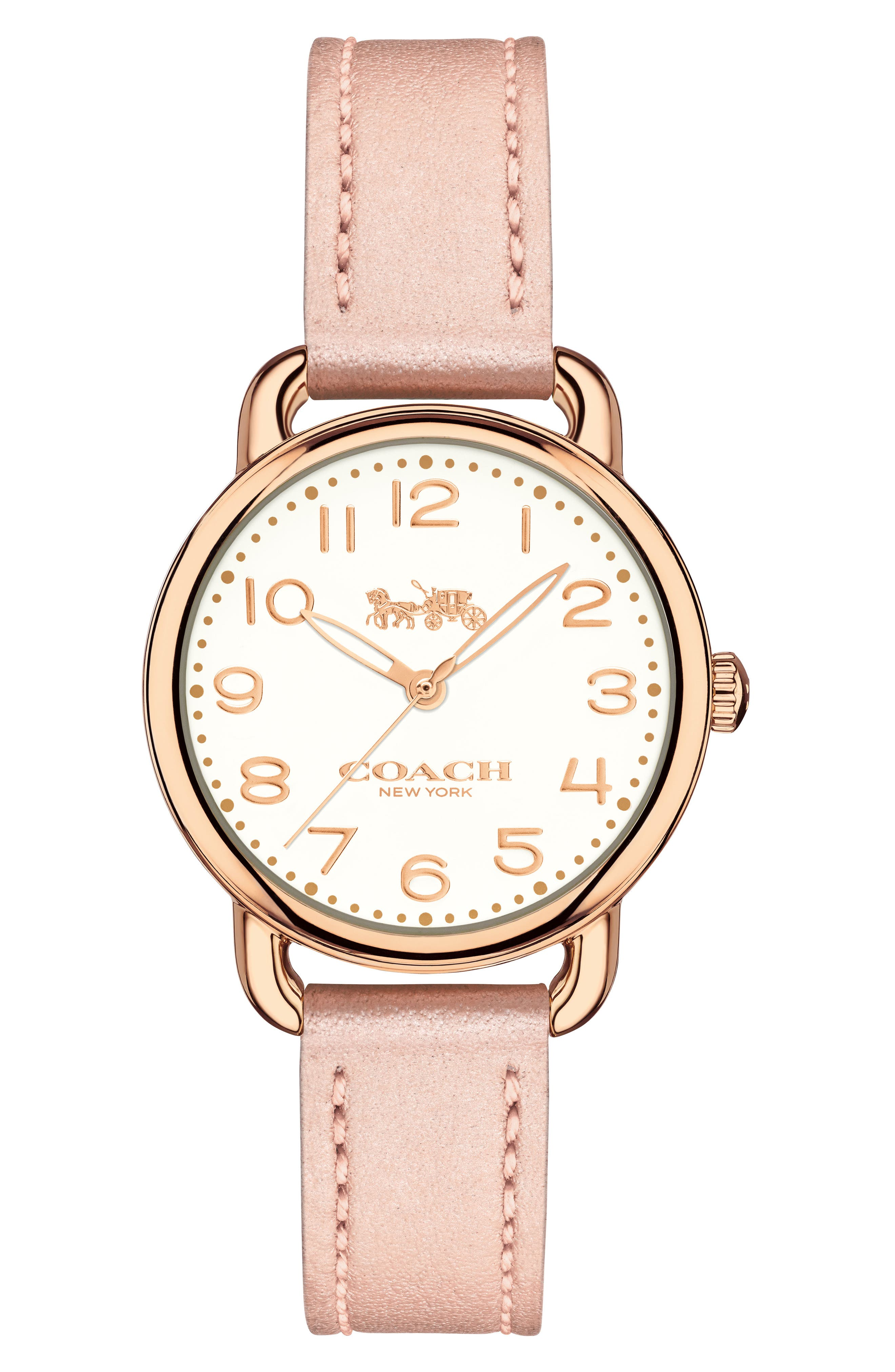 Delancey Leather Strap Watch, 28mm,                         Main,                         color, Blush/ Chalk/ Rose Gold