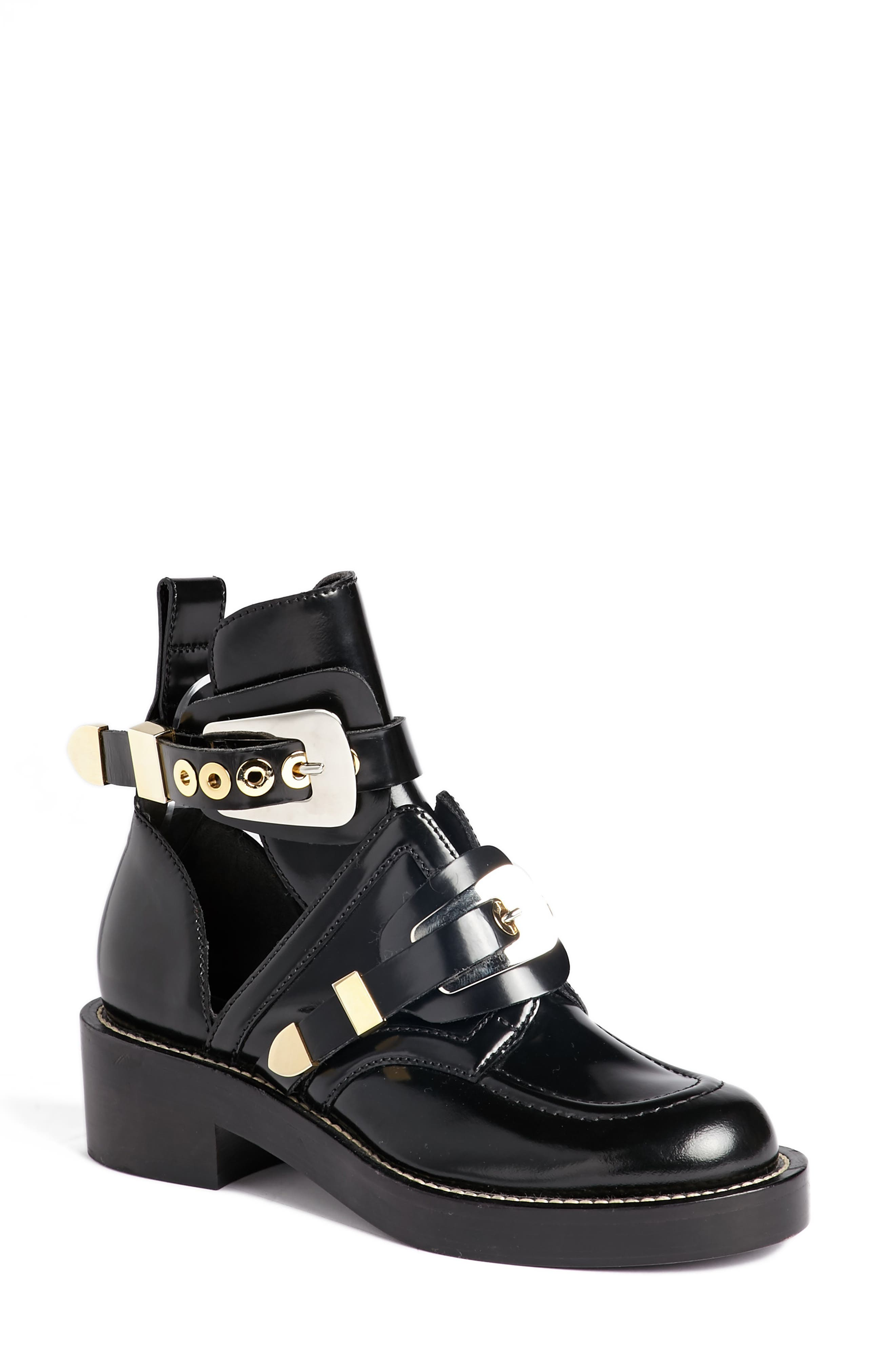 Cutout Buckle Boot,                         Main,                         color, Black Calf