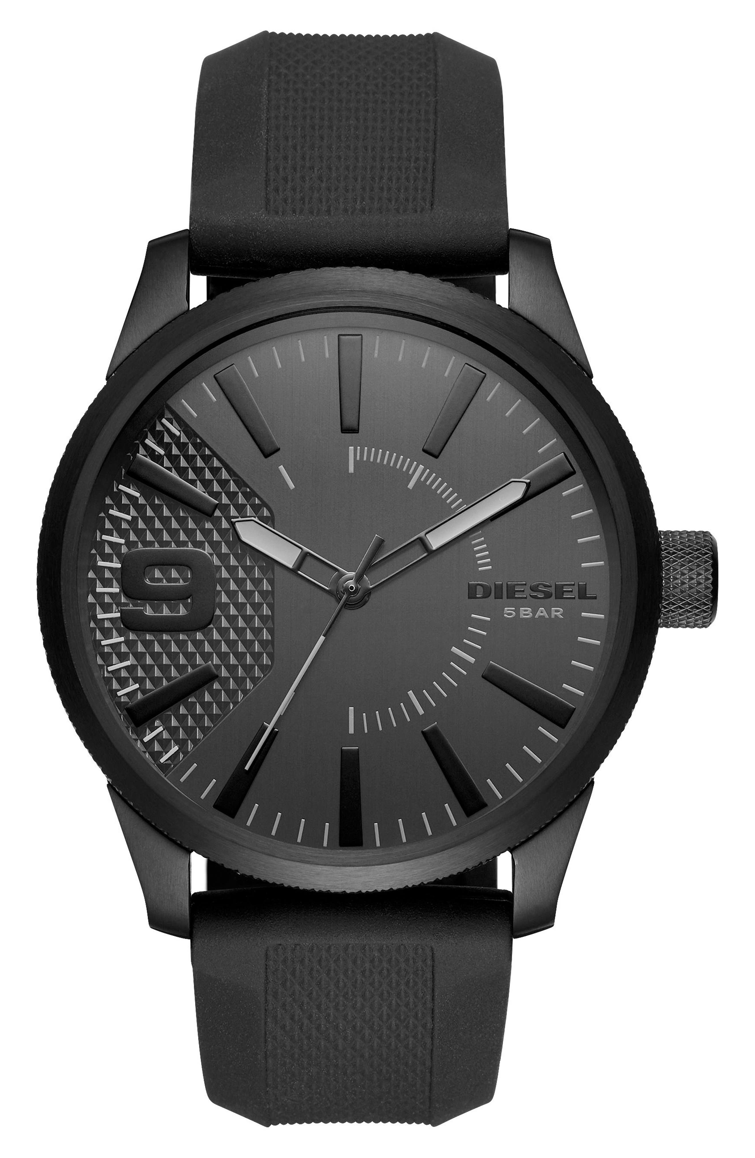 Rasp Silicone Strap Watch, 46mm,                             Main thumbnail 1, color,                             Black/ Black