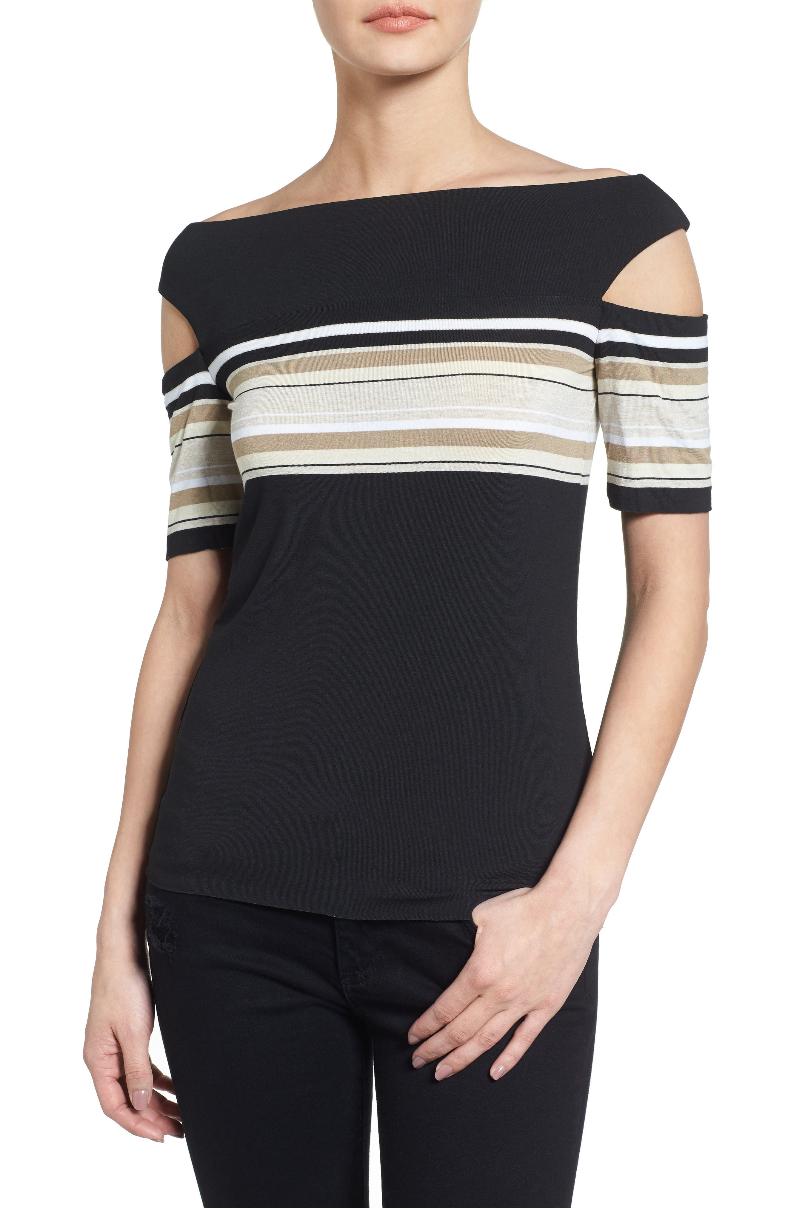 Stripe Off the Shoulder Top,                         Main,                         color, Black