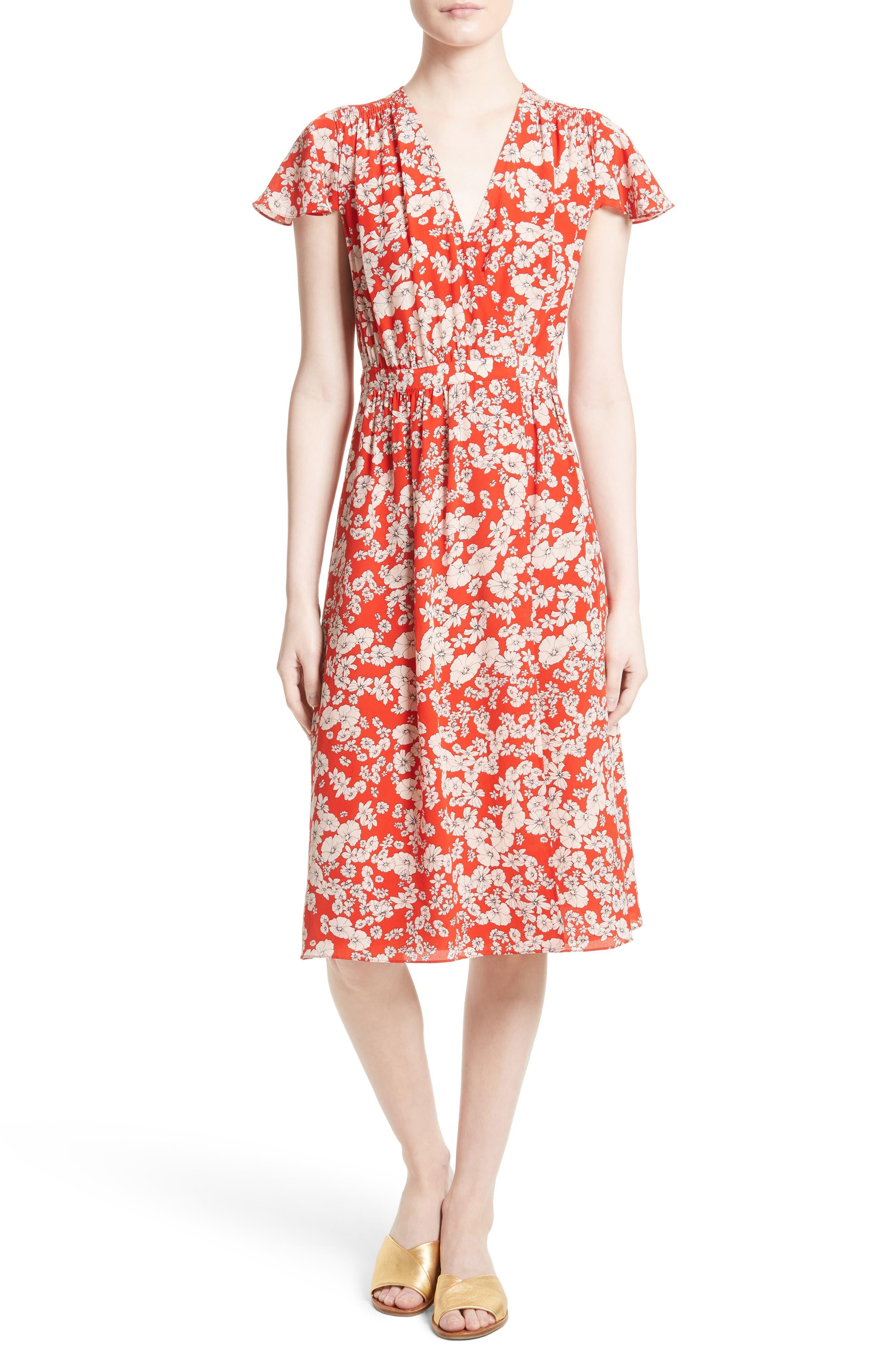 Cherry Blossom Silk Wrap Dress,                         Main,                         color, Candy Apple Combo