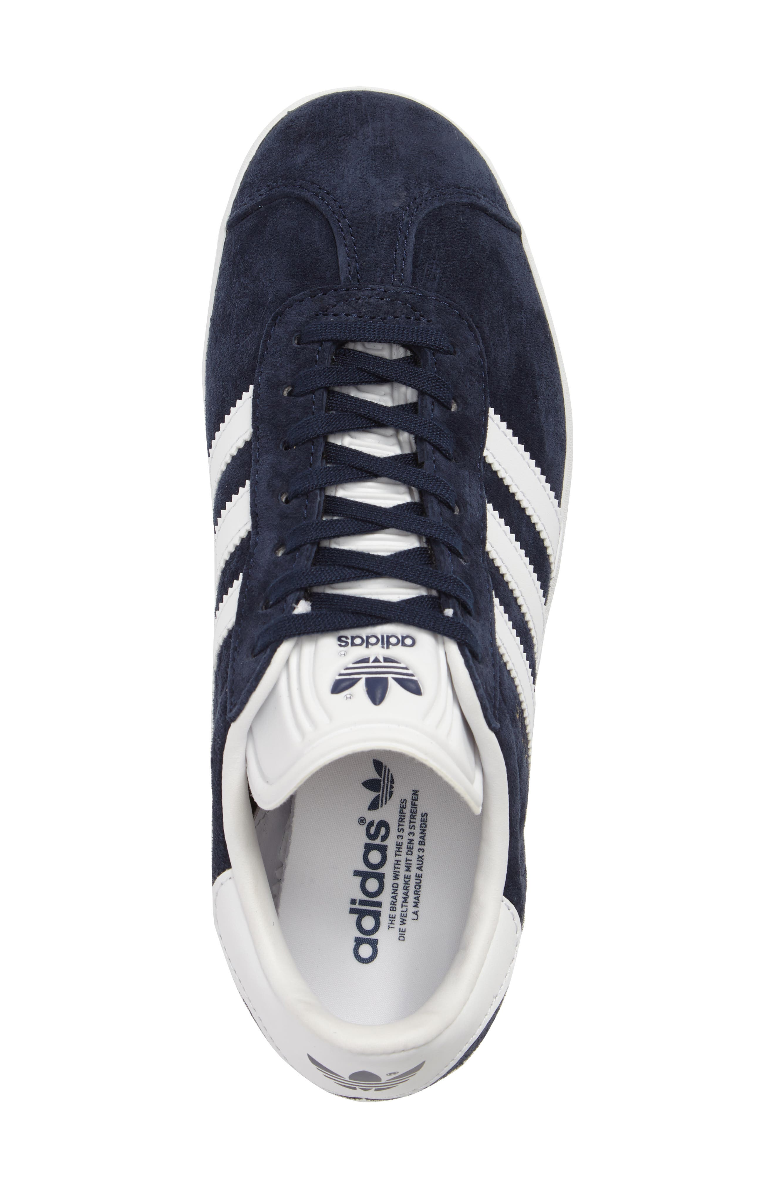 Gazelle Sneaker,                             Alternate thumbnail 5, color,                             Navy/ White/ Gold Metallic