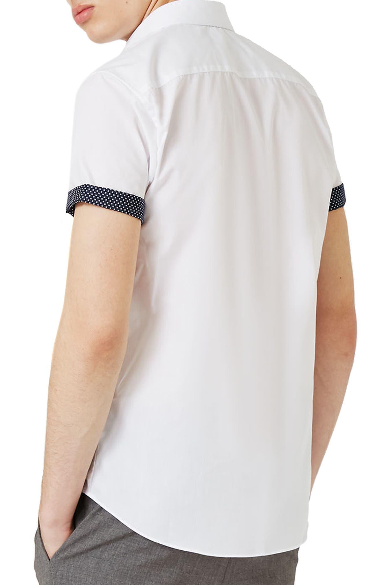 Dot Cuff Shirt,                             Alternate thumbnail 3, color,                             White Multi