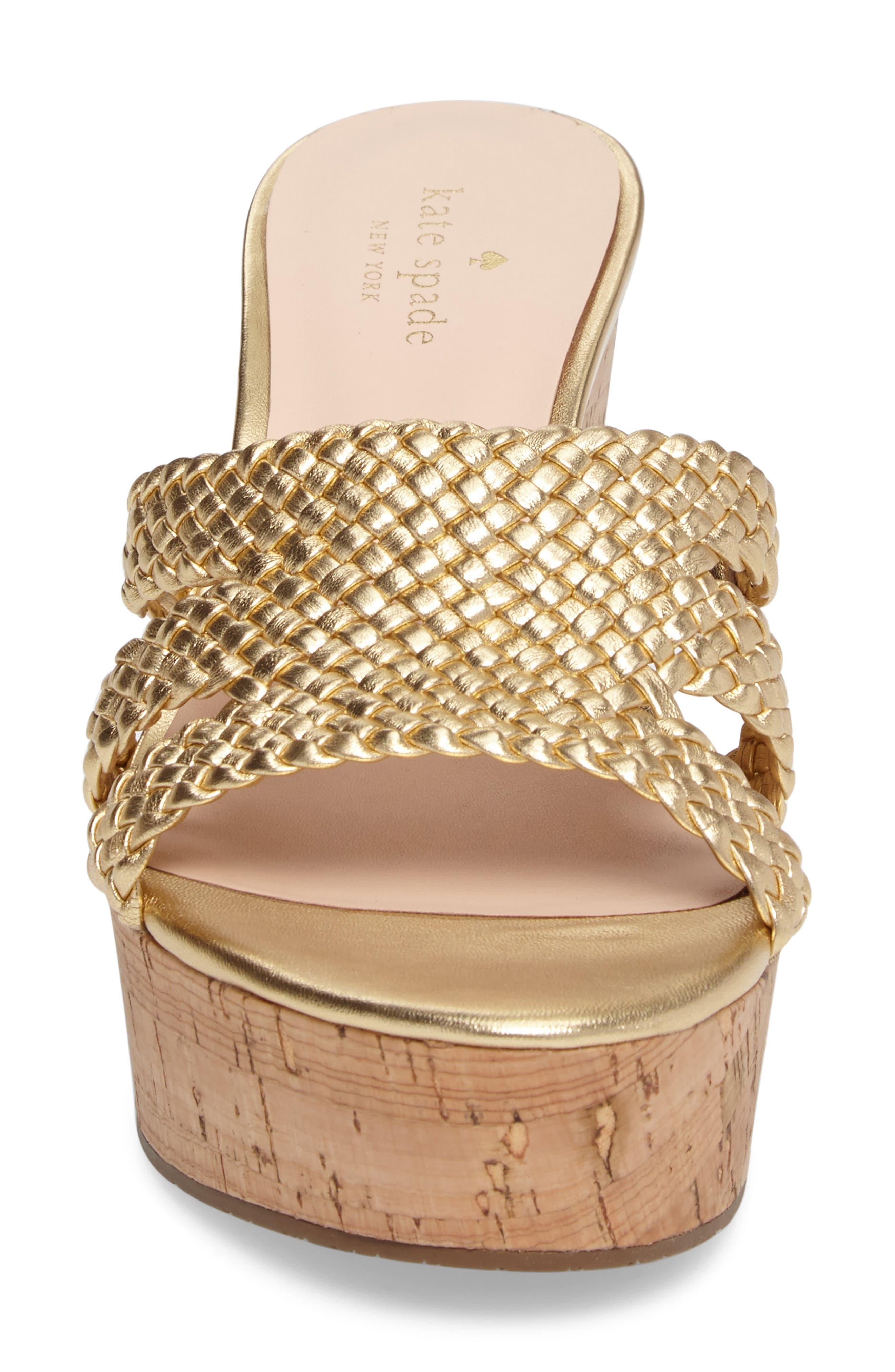 tarvela wedge sandal,                             Alternate thumbnail 4, color,                             Old Gold Woven Metallic Nappa