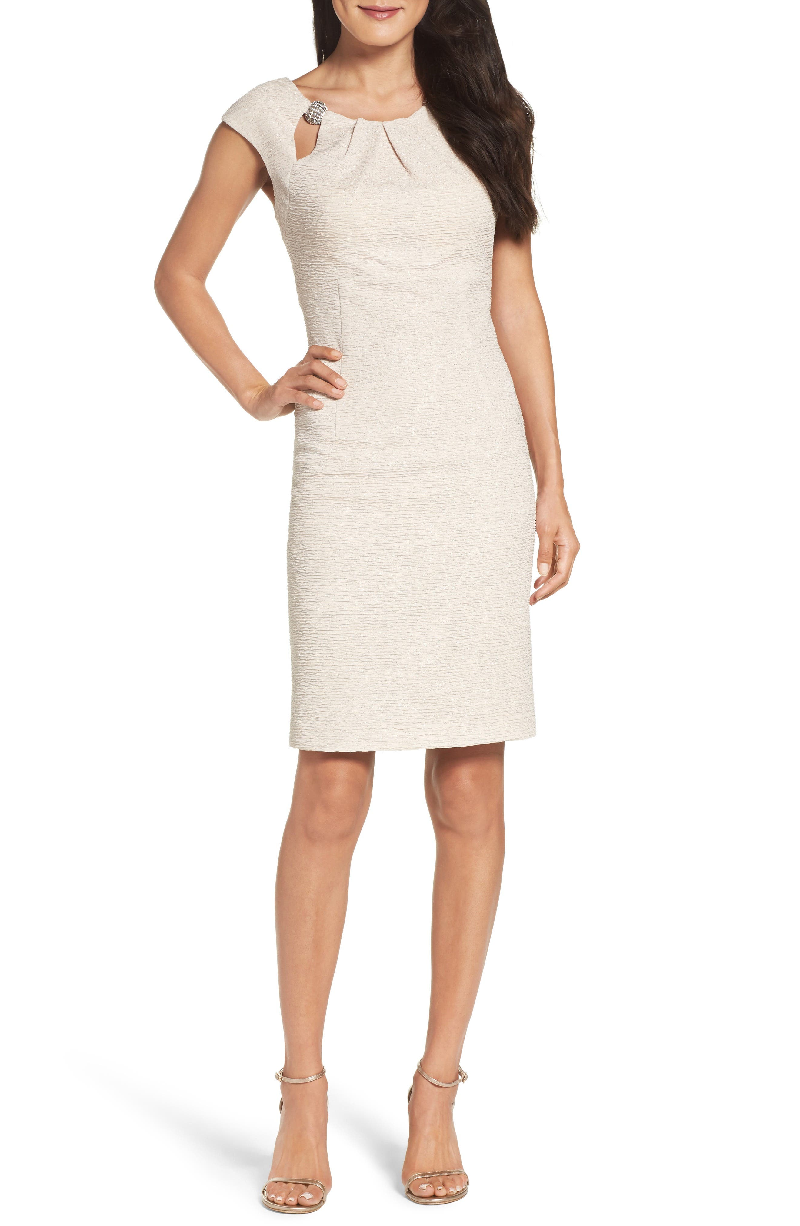 Embellished Glitter Knit Sheath Dress,                             Main thumbnail 1, color,                             Champagne
