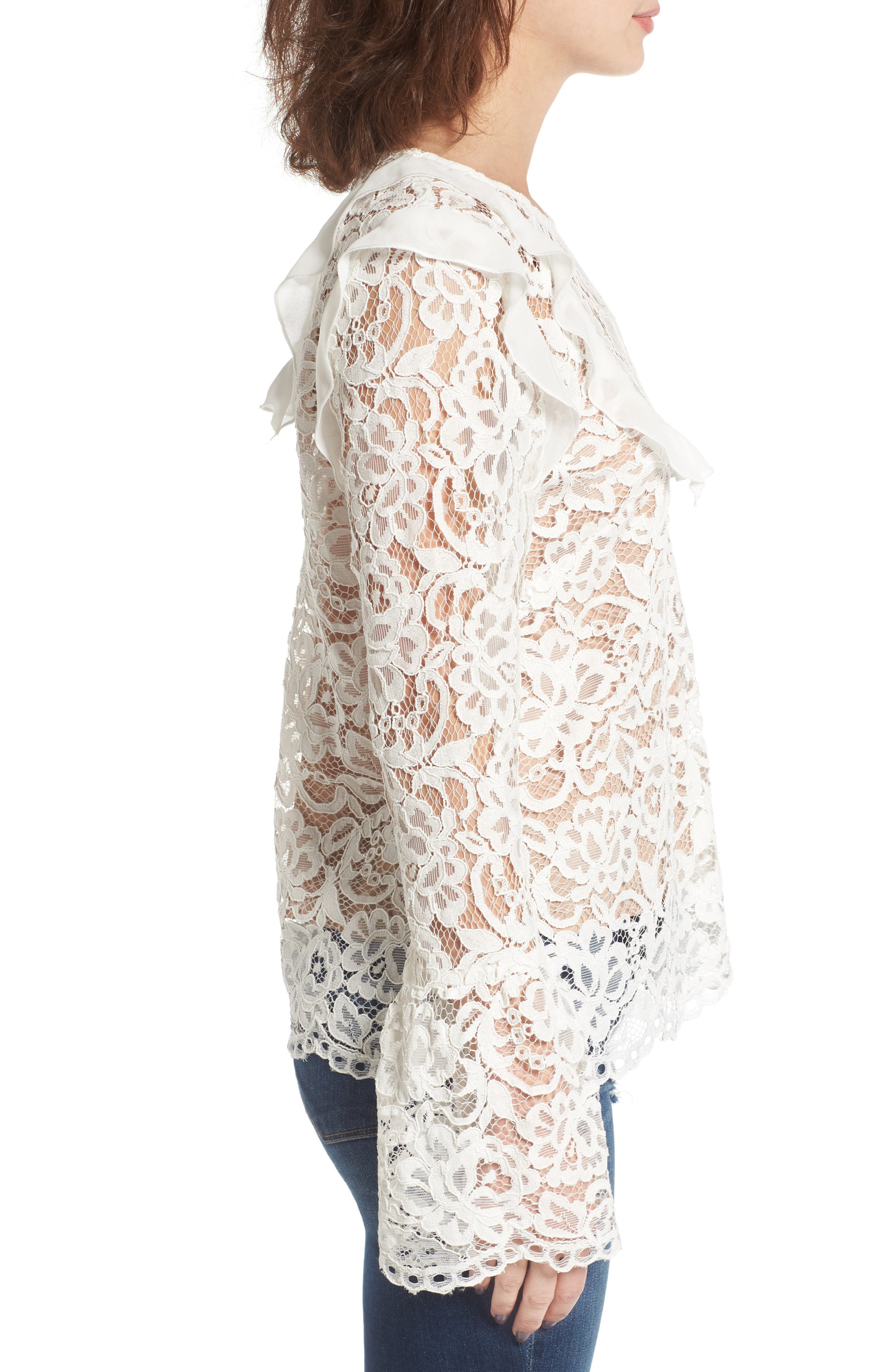 Lydia Lace Top,                             Alternate thumbnail 3, color,                             Ivory Lace