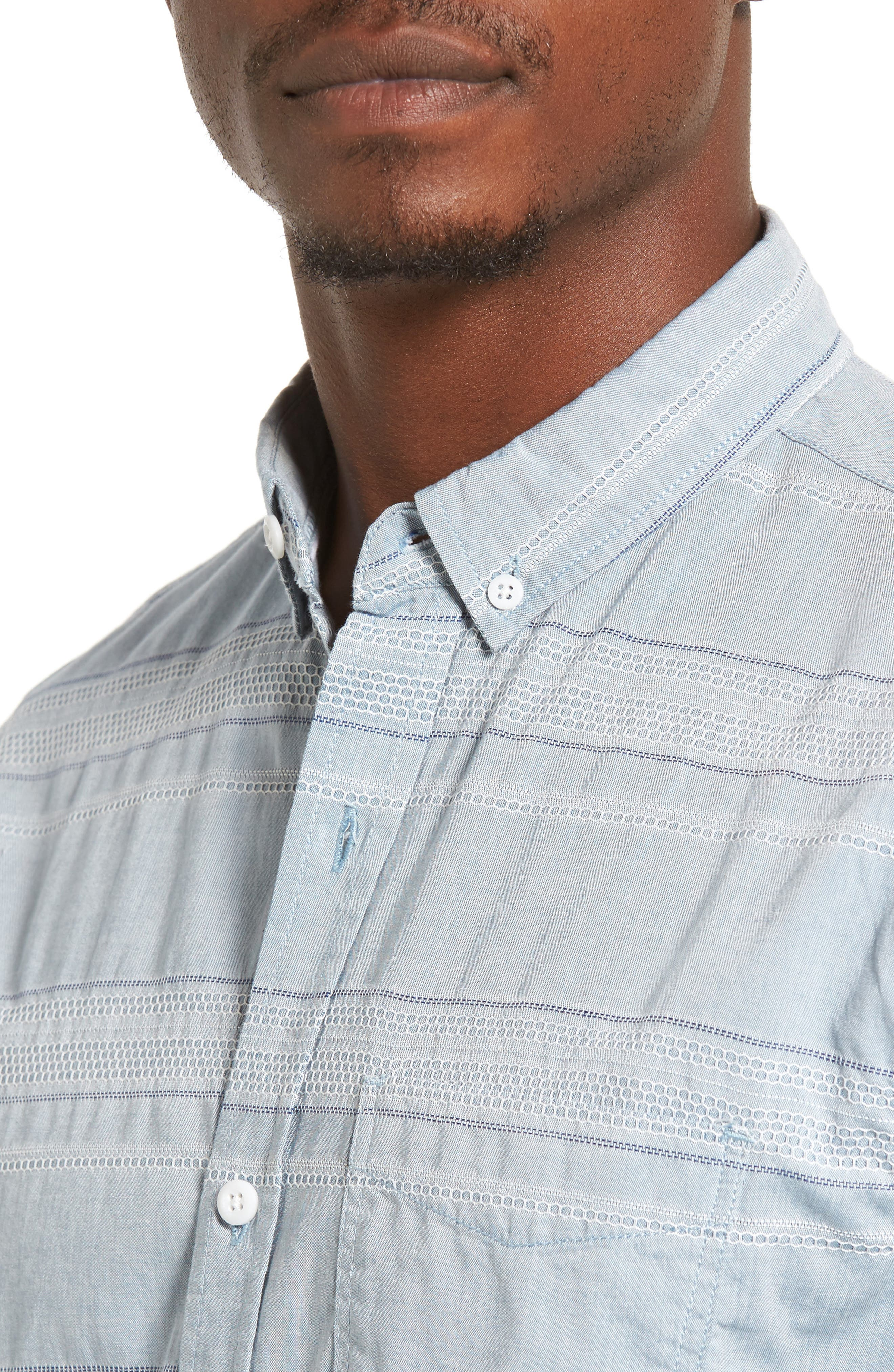 Alternate Image 4  - 1901 Jacquard Trim Fit Sport Shirt