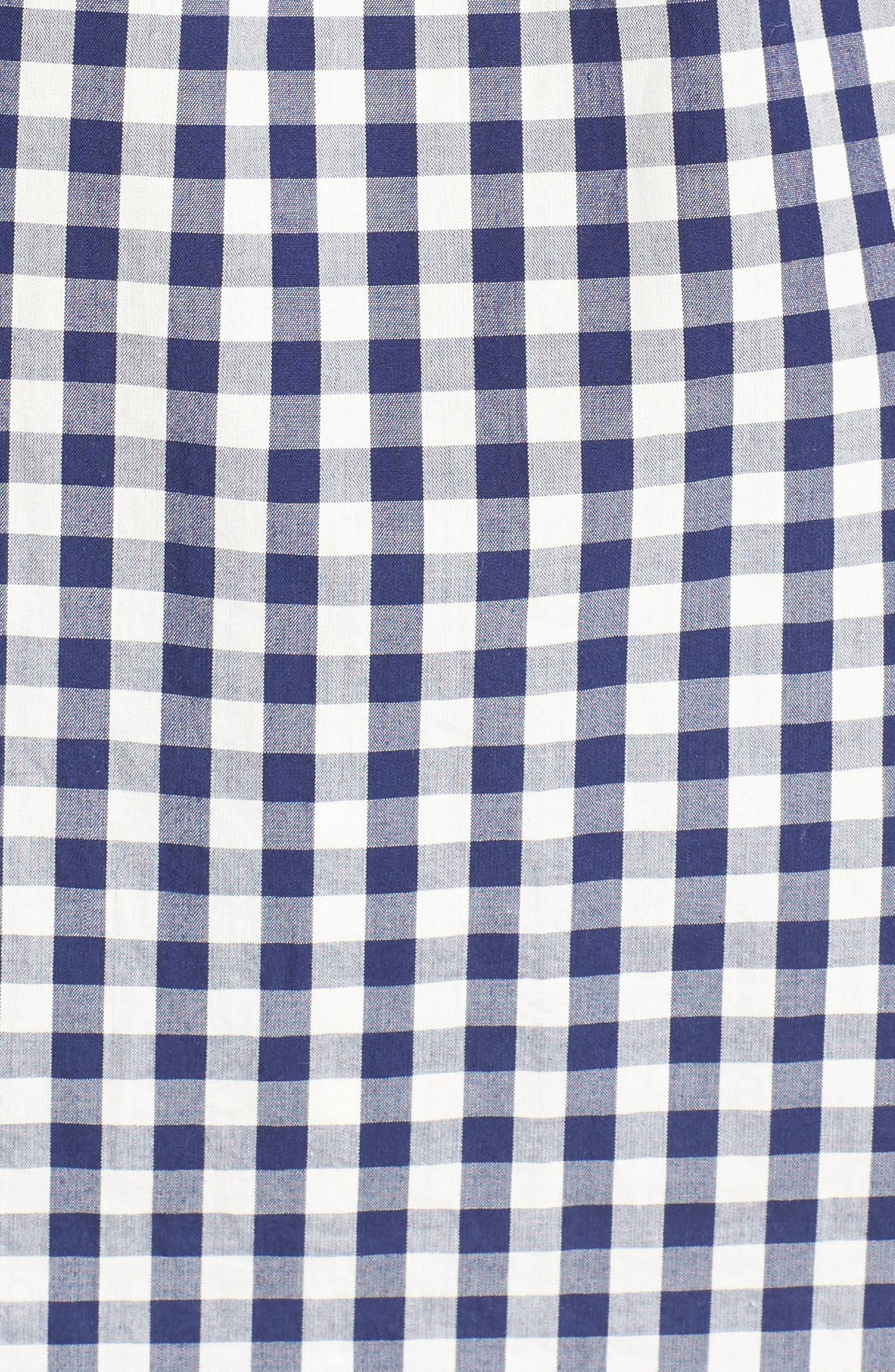 Smocked Gingham Off the Shoulder Top,                             Alternate thumbnail 5, color,                             Moonless Night