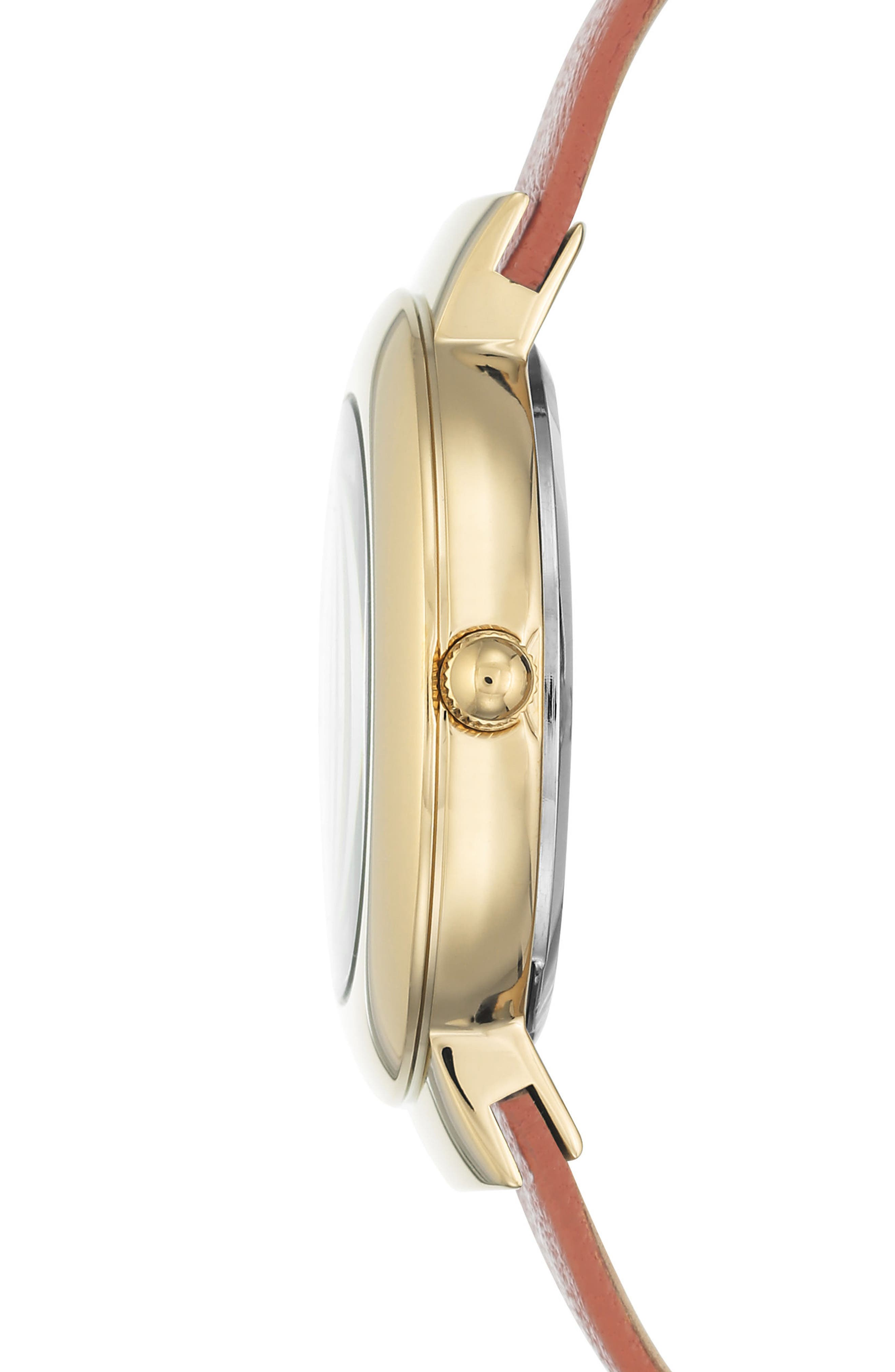 Alternate Image 3  - Anne Klein Round Leather Strap Watch, 36mm