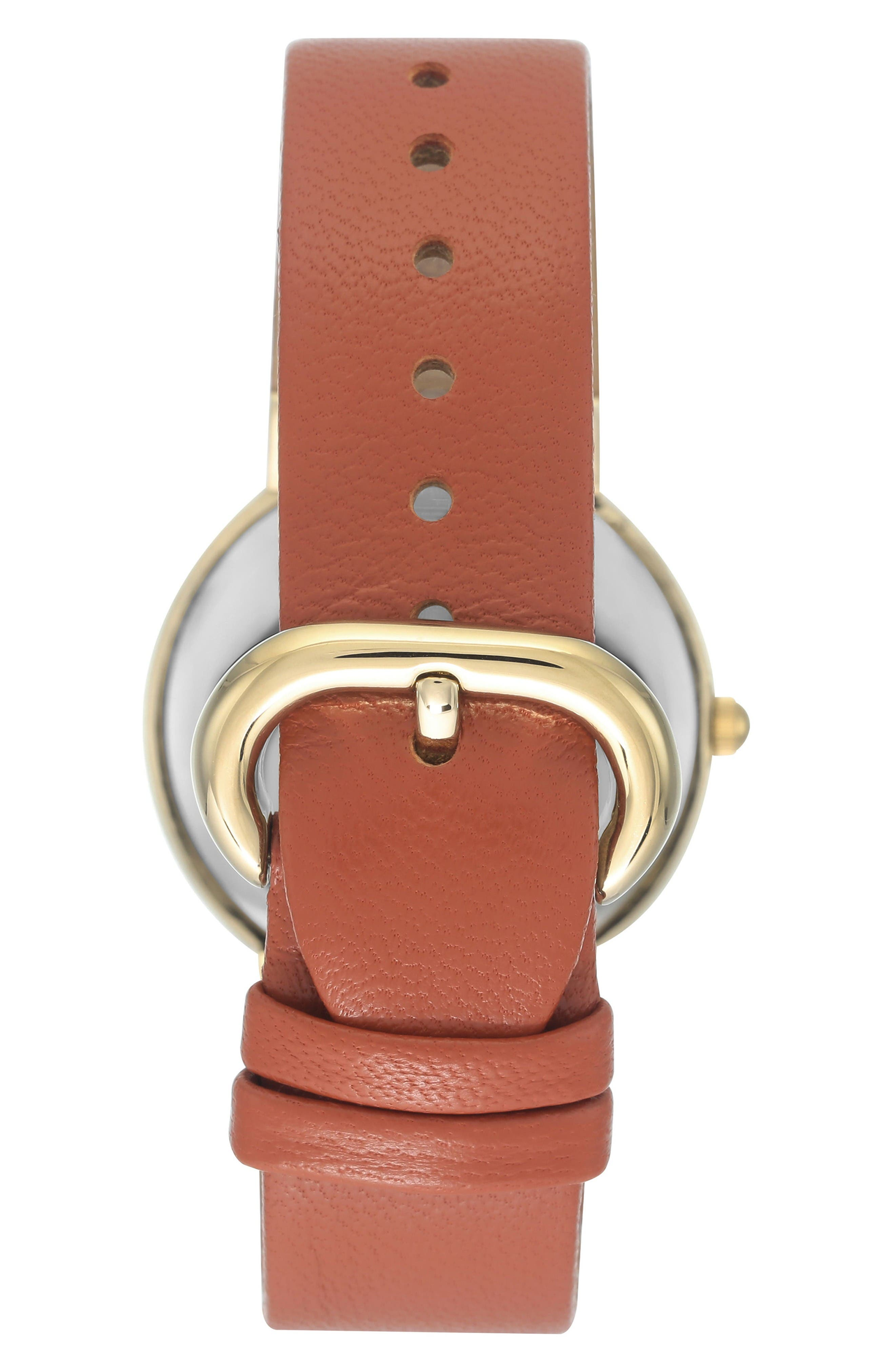 Alternate Image 2  - Anne Klein Round Leather Strap Watch, 36mm