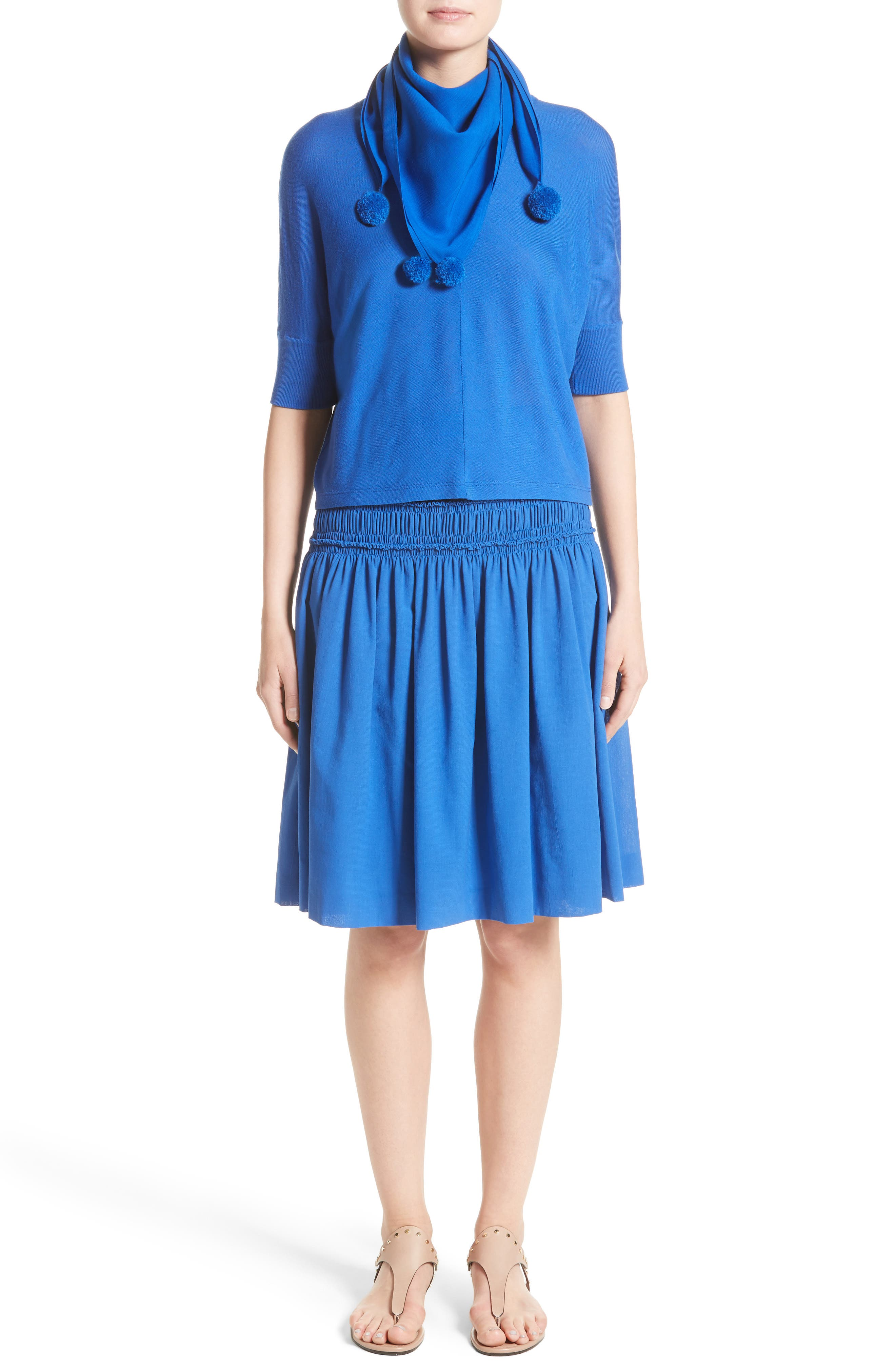 Akris Smocked Ruffle Skirt,                             Alternate thumbnail 7, color,                             Blue