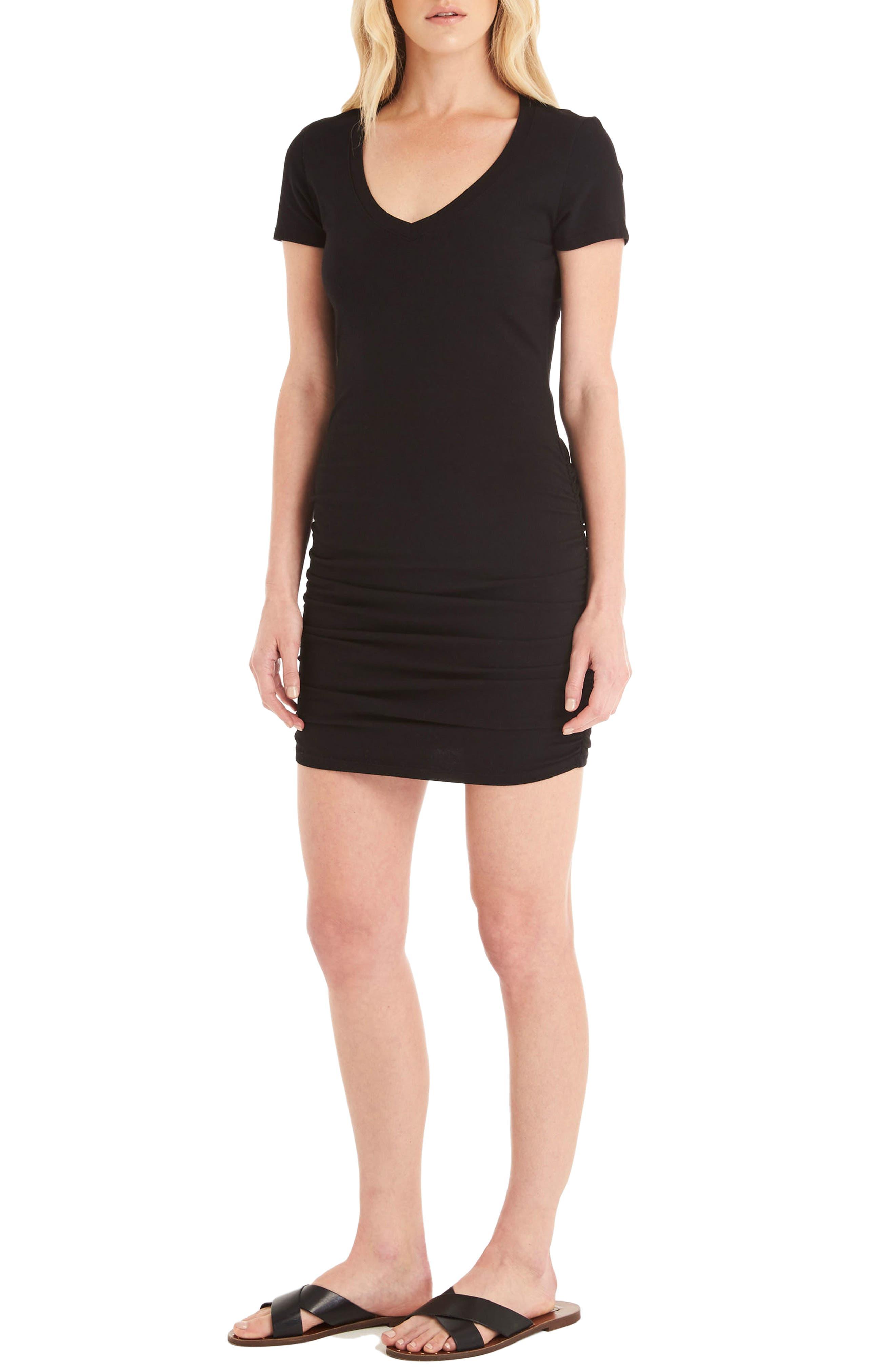 Ruched V-Neck Jersey Minidress,                             Alternate thumbnail 3, color,                             Black