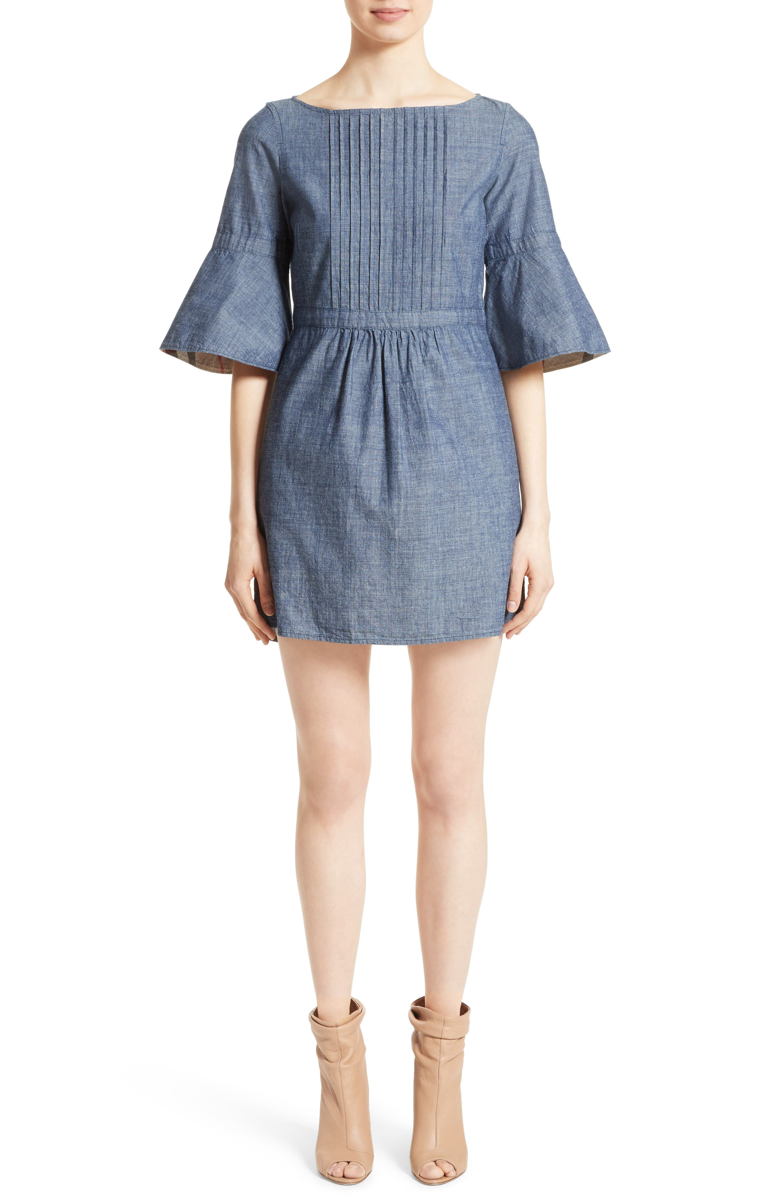 Main Image - Burberry Michelle Bell Sleeve Chambray Dress