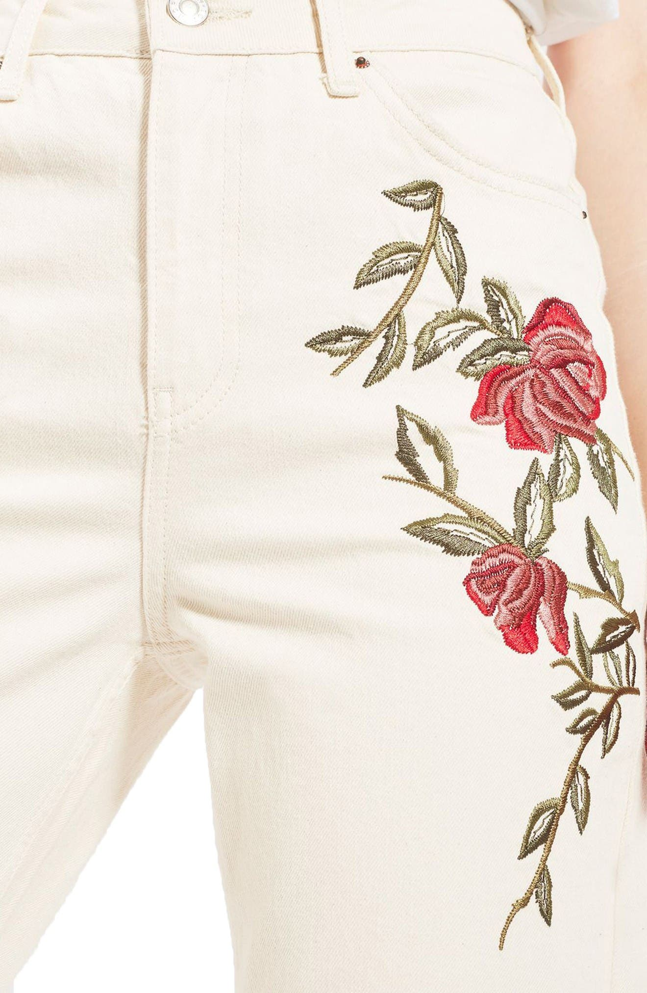 Alternate Image 5  - Topshop Rose Embroidered Mom Jeans