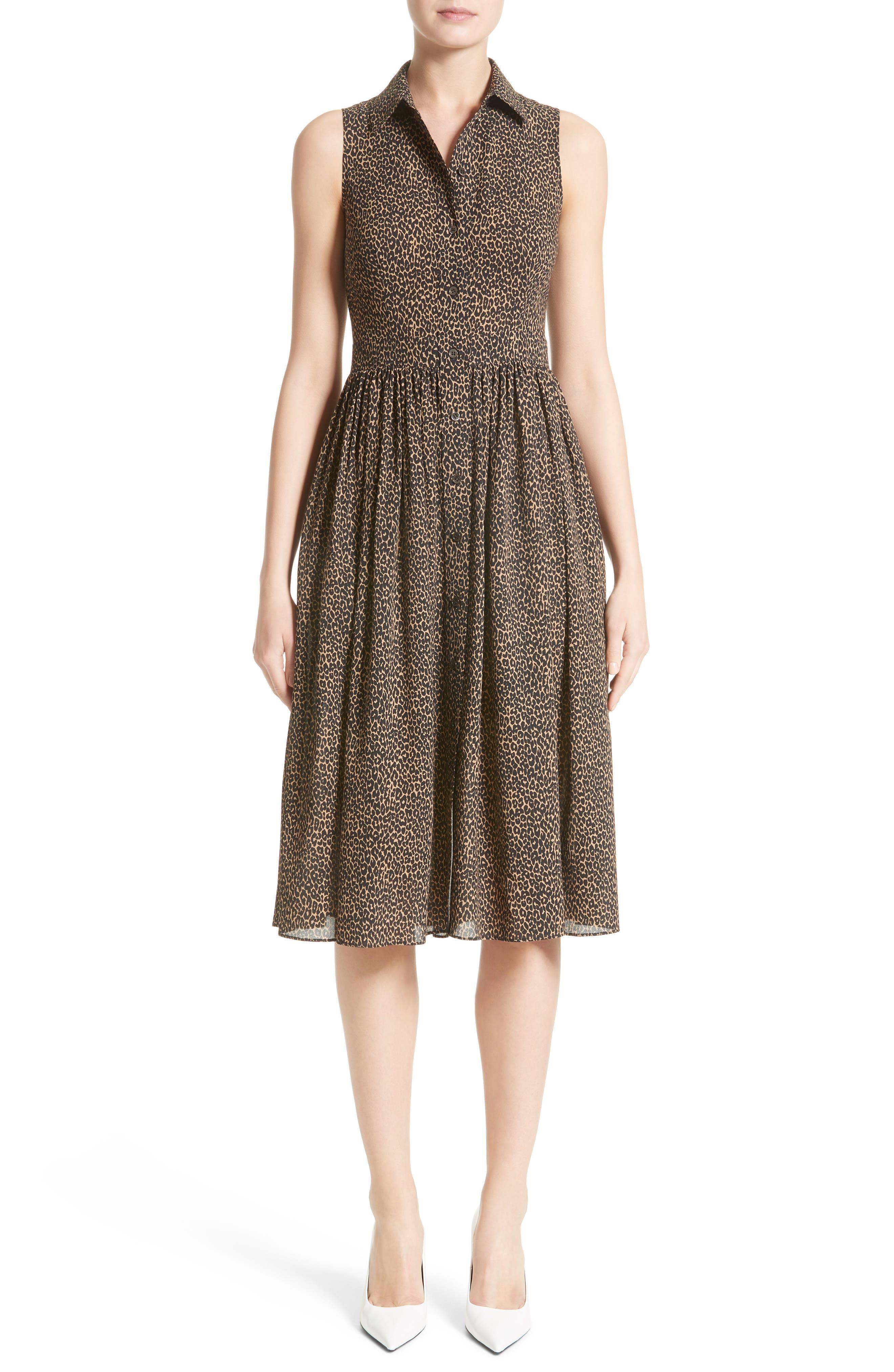 Main Image - Michael Kors Leopard Print Silk Georgette Shirtdress