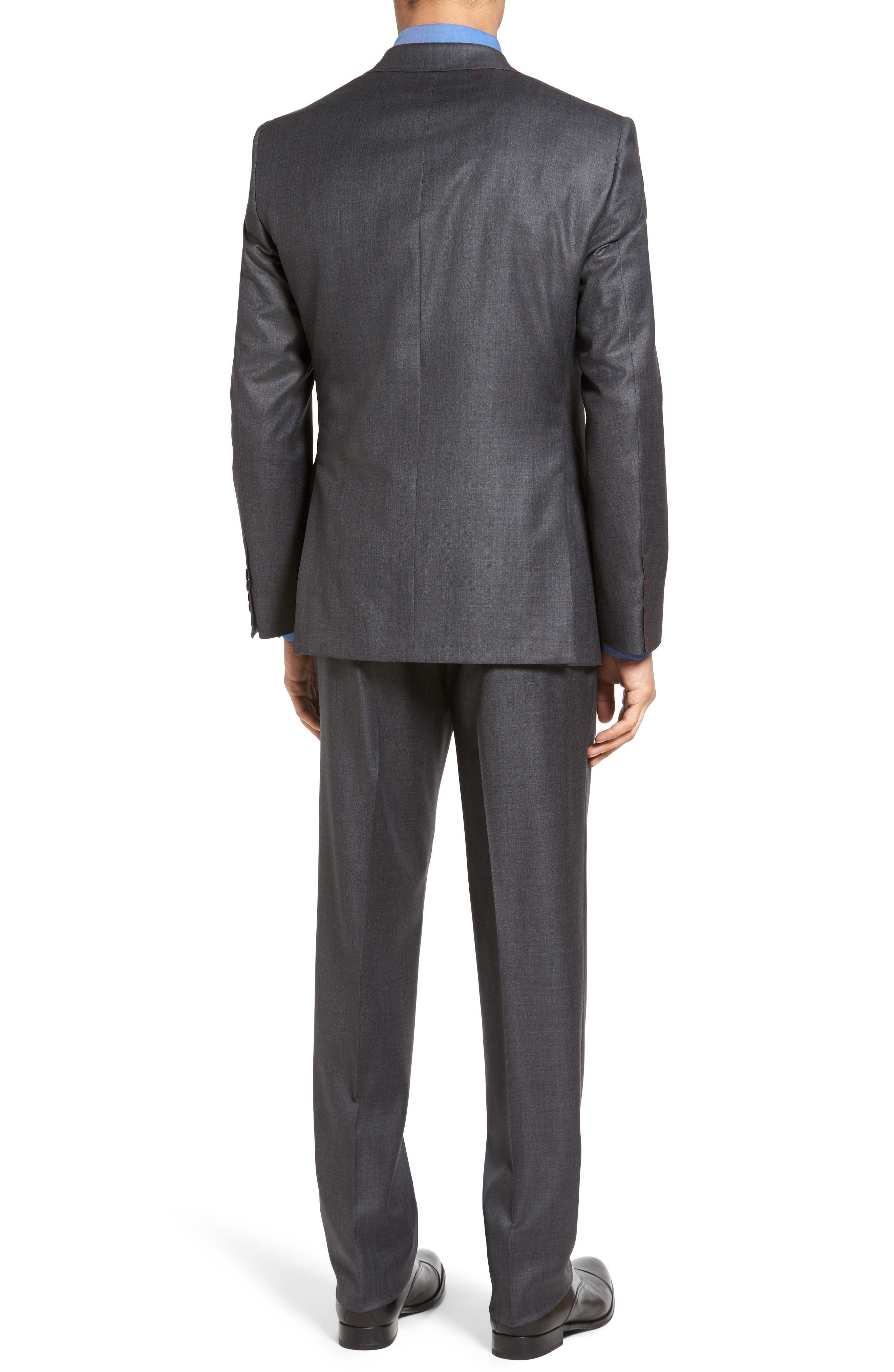 Beckett Classic Fit Sharkskin Wool Suit,                             Alternate thumbnail 2, color,                             Charcoal