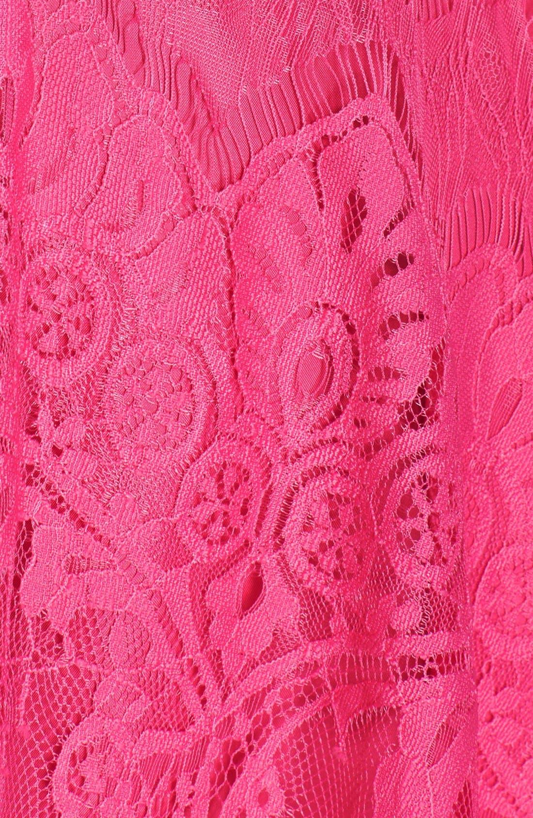 'Rhianna' Illusion Yoke Lace Fit & Flare Dress,                             Alternate thumbnail 4, color,                             Fuchsia/ Rose