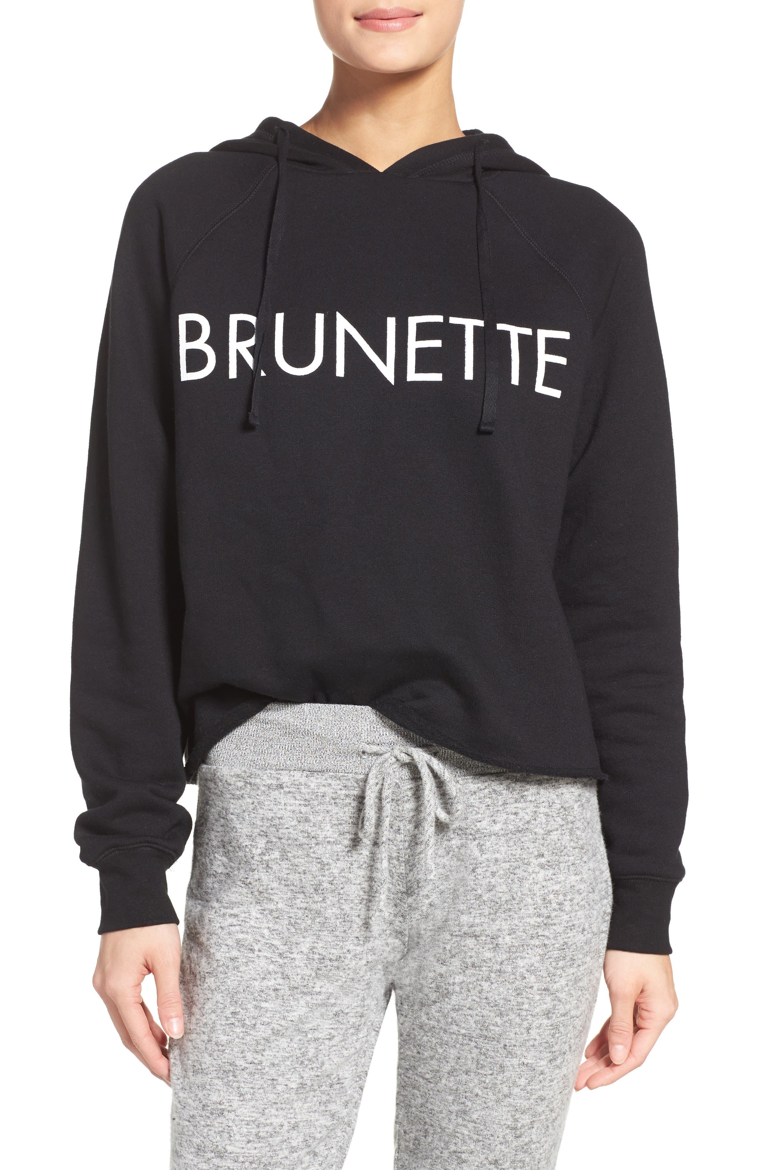 Brunette Lounge Hoodie,                             Main thumbnail 1, color,                             Black