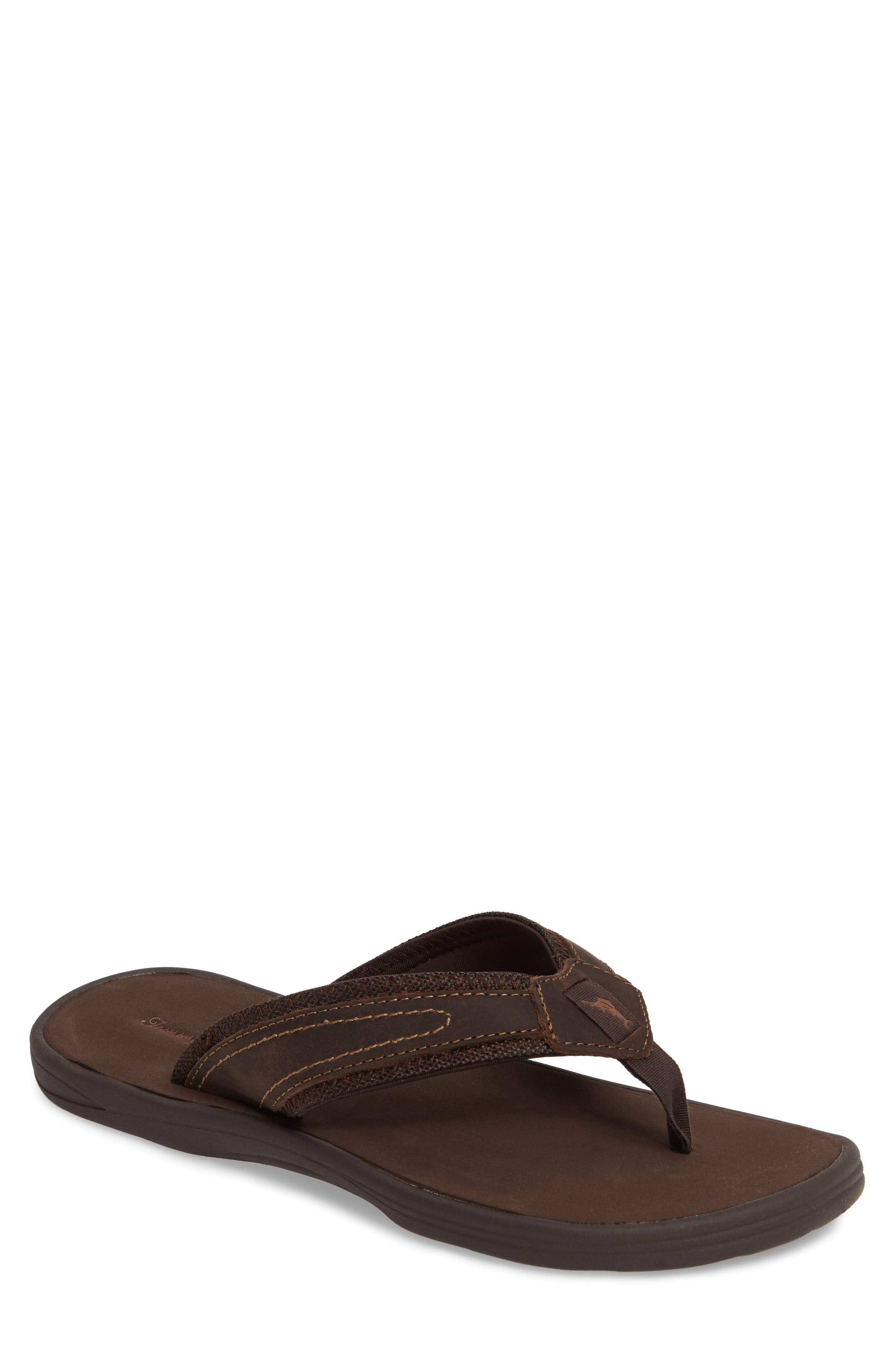 Seawell Flip Flop,                         Main,                         color, Dark Brown Leather