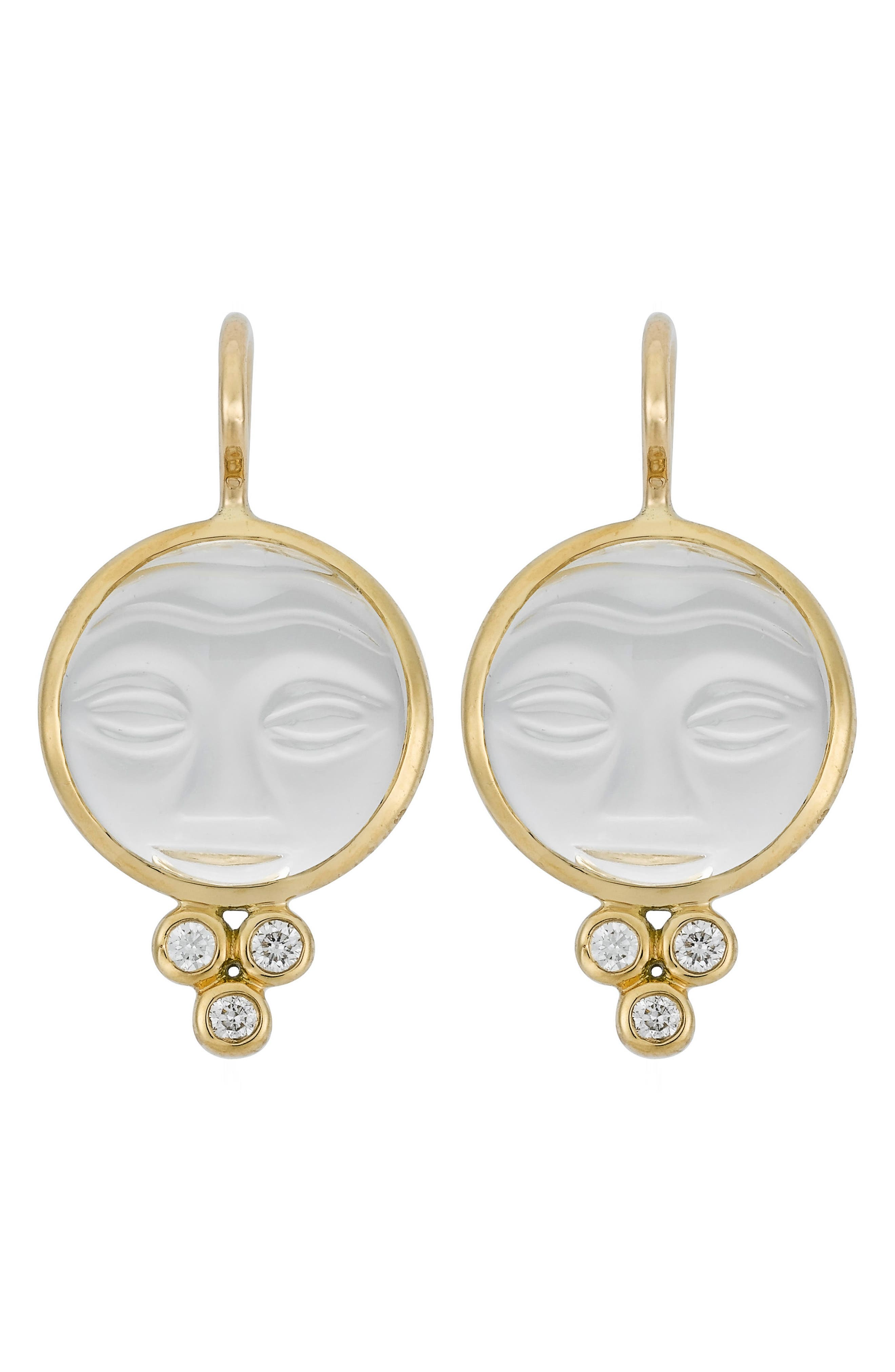 Temple St. Clair Moonface Diamond & Rock Crystal Earrings,                         Main,                         color, Yellow Gold/ Crystal