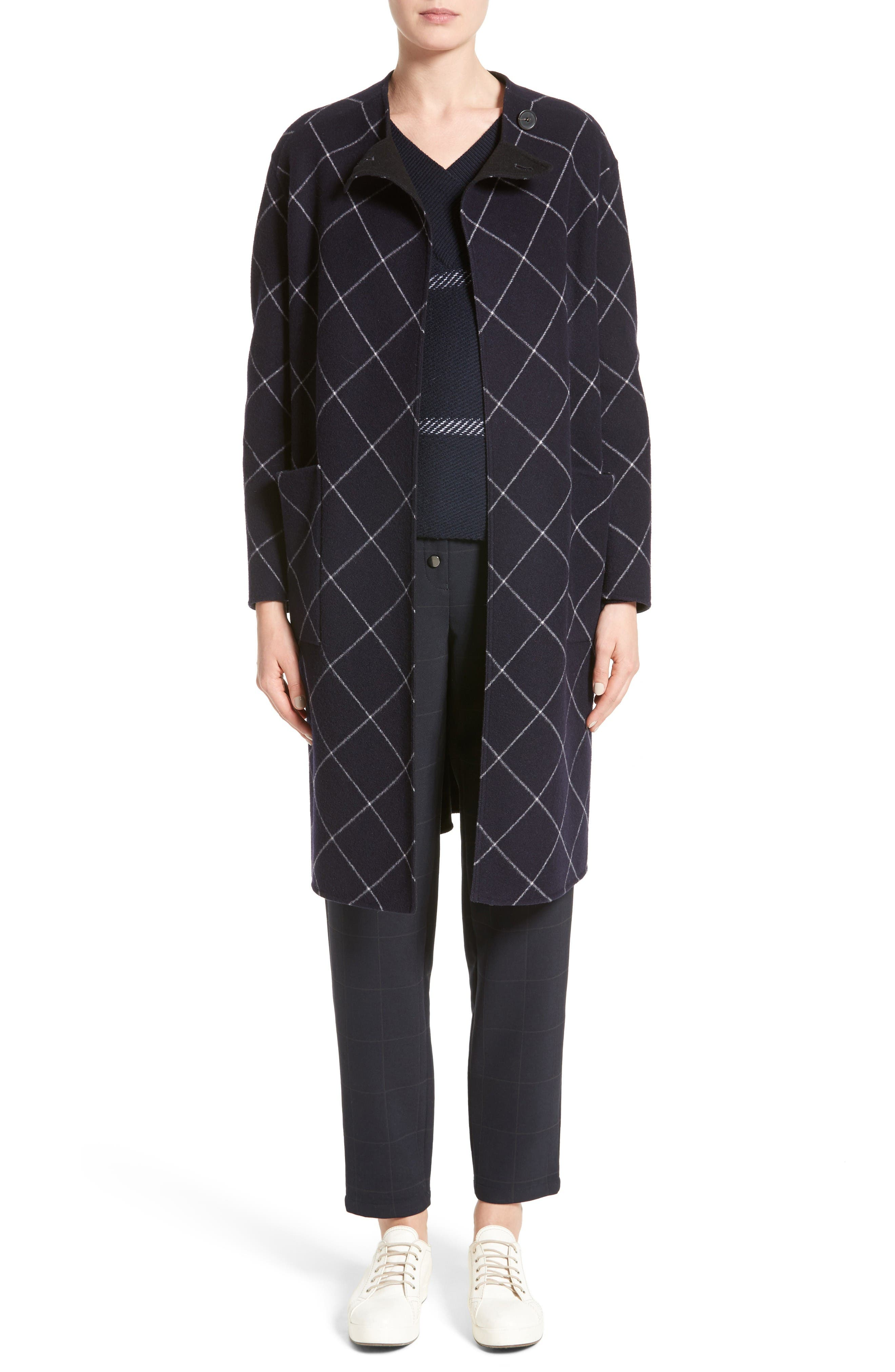 Windowpane Wool & Cashmere Wrap Coat,                             Alternate thumbnail 7, color,                             Navy Multi