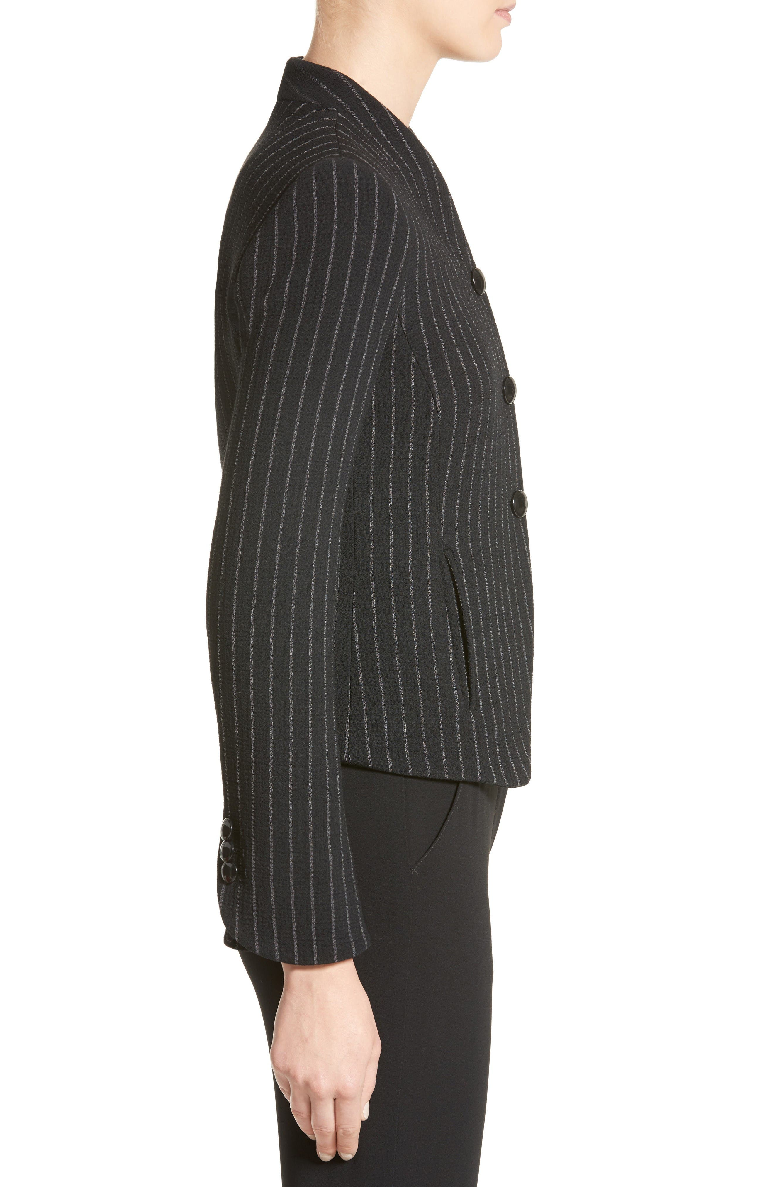 Stretch Wool Pinstripe Jacket,                             Alternate thumbnail 5, color,                             Black Grey Multi